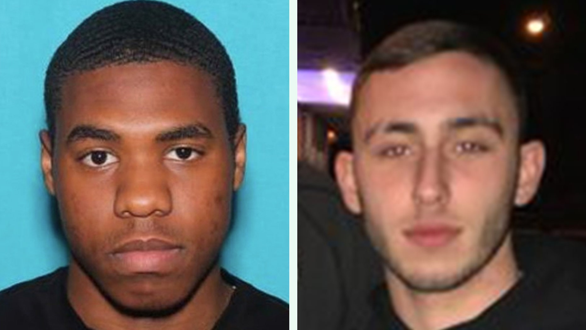 """Tyquan """"Fats"""" Atkinson, 19, (left) was arrested in Chester, Penn., after Philadelphia Police said he had been on the run for several days for the murder of 20-year-old Nicholas Flacco (right) on Saturday."""