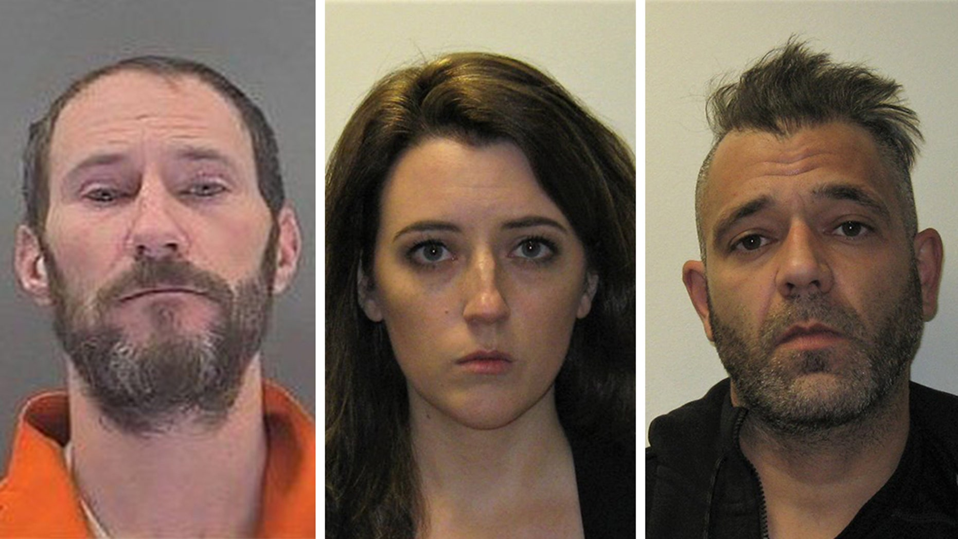 Investigators said, from left, Johnny Bobbitt, a homeless military veteran, Katelyn McClure and Mark D'Amico split $400,000 in GoFundMe contributions and spent lavishly — as they had planned all along — including on a BMW, designer bags and trips to Las Vegas and elsewhere. (Burlington County Prosecutor's Office)