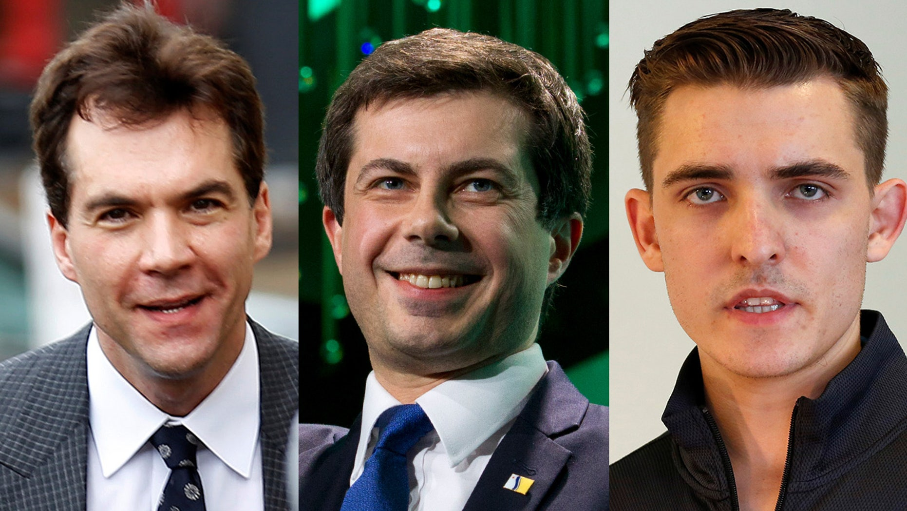 Jack Burkman, left, and Jacob Wohl, right, are accused of orchestrating sexual assault allegations against Pete Buttigieg, center. (Reuters/AP)