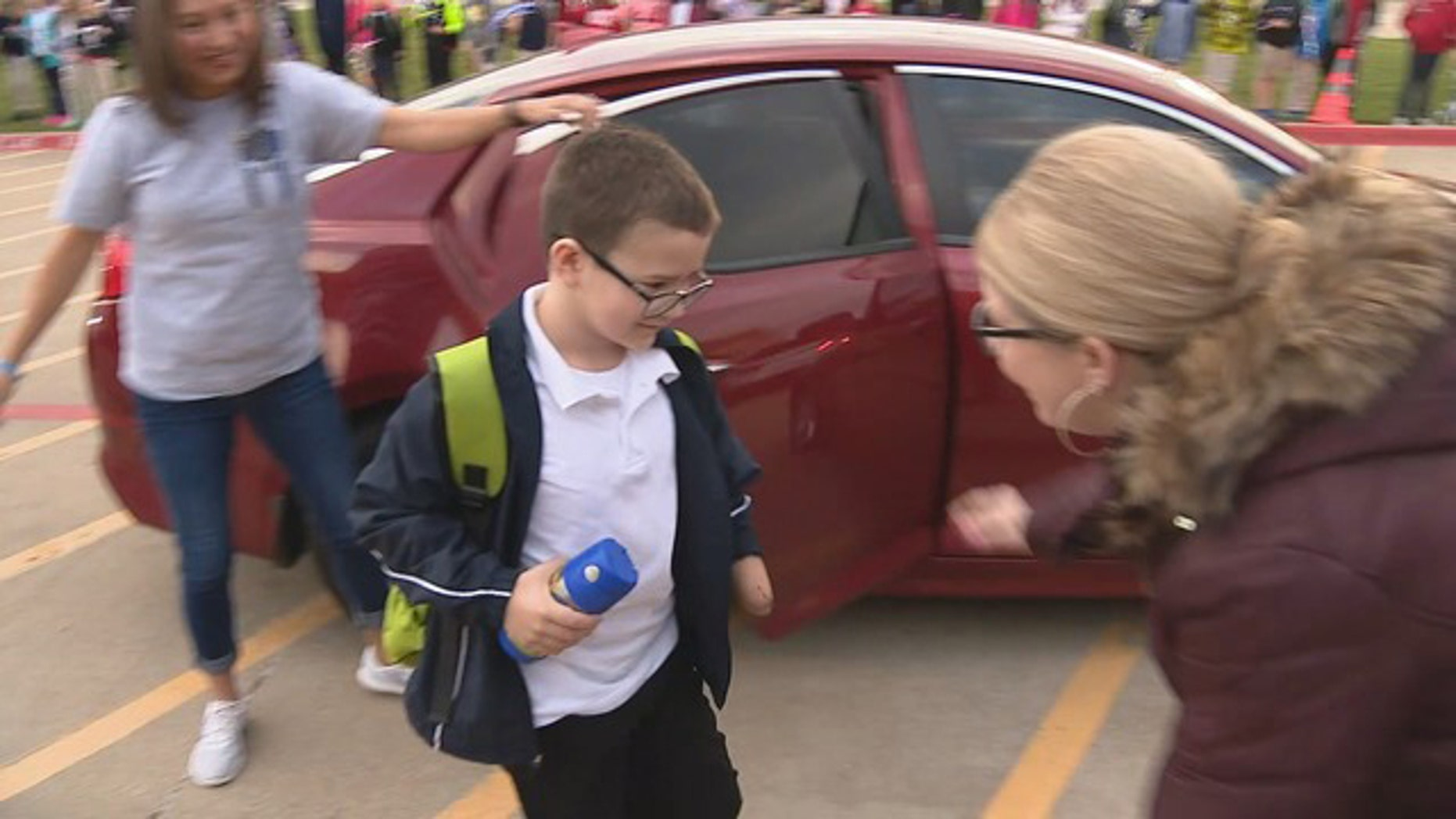 Brisen Fullbright went to school with police and fire escorts. (Fox 4)