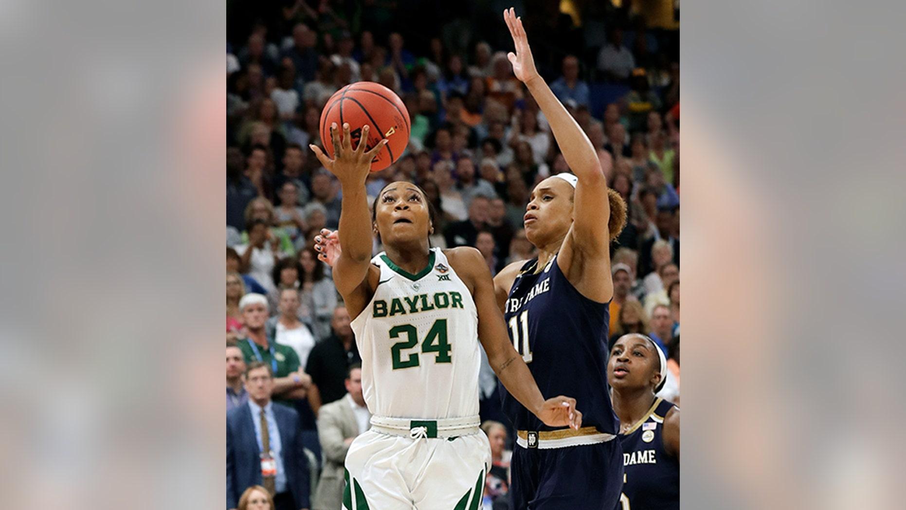 Baylor guard Chloe Jackson (24) scoring the go-ahead basket in Sunday's championship game. (AP Photo/Chris O'Meara)