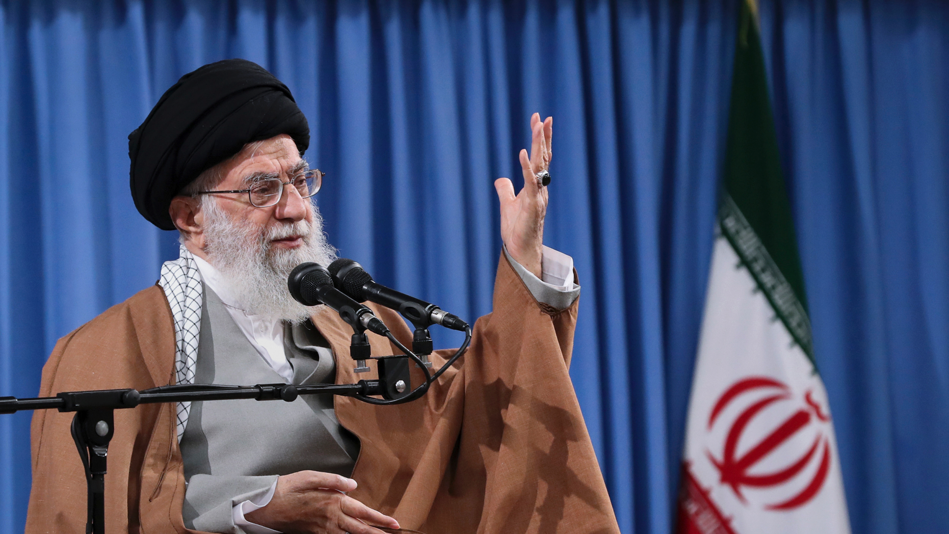 """In this picture released by an official website of the office of the Iranian supreme leader, Supreme Leader Ayatollah Ali Khamenei speaks at a meeting with a group of  Revolutionary Guards and their families, in Tehran, Iran, Tuesday, April 9, 2019. Khamenei praised Iran's Revolutionary Guard and said America's """"evil designs would not harm"""" the force after the White House designated the guard a foreign terrorist organization. (Office of the Iranian Supreme Leader via AP)"""