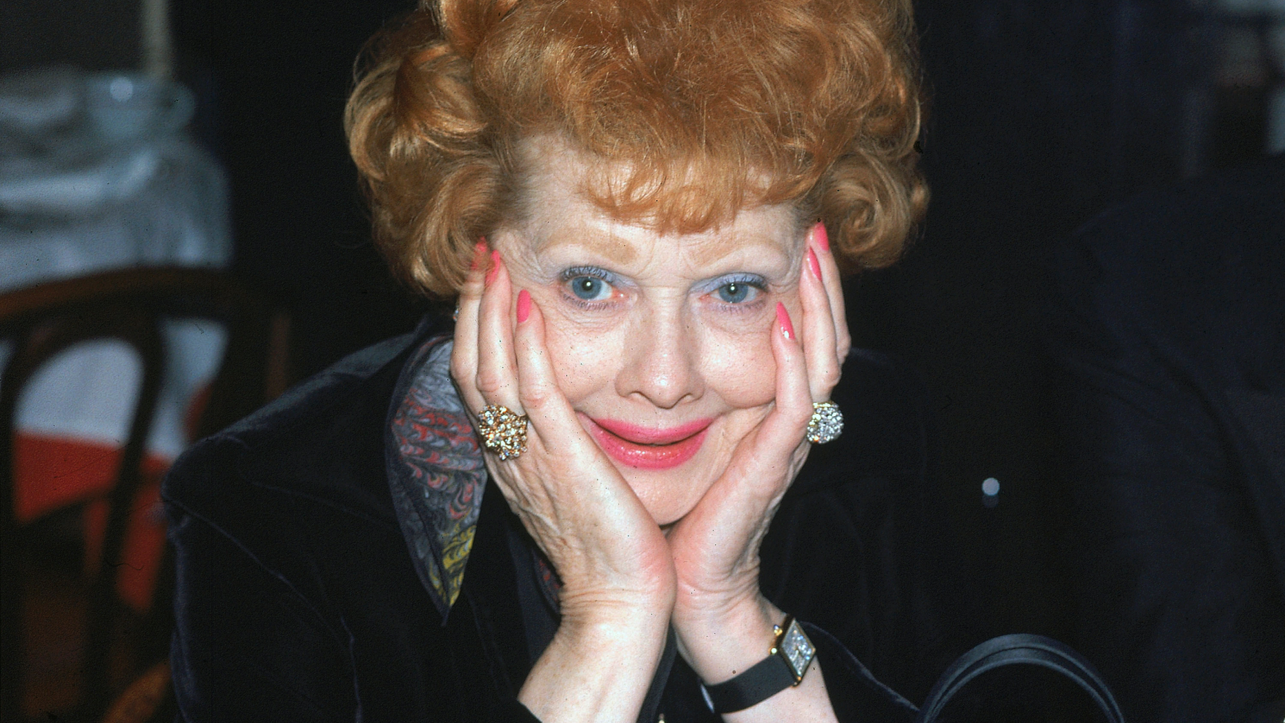 FILE - This Feb. 11, 1979 file photo shows actress-comedian Lucille Ball at a restaurant in New York. On Friday, April 26, 2019, the National Comedy Center in the late actress's hometown announced plans to digitize the archives of the Lucille Ball Desi Arnaz Museum. (AP Photo)