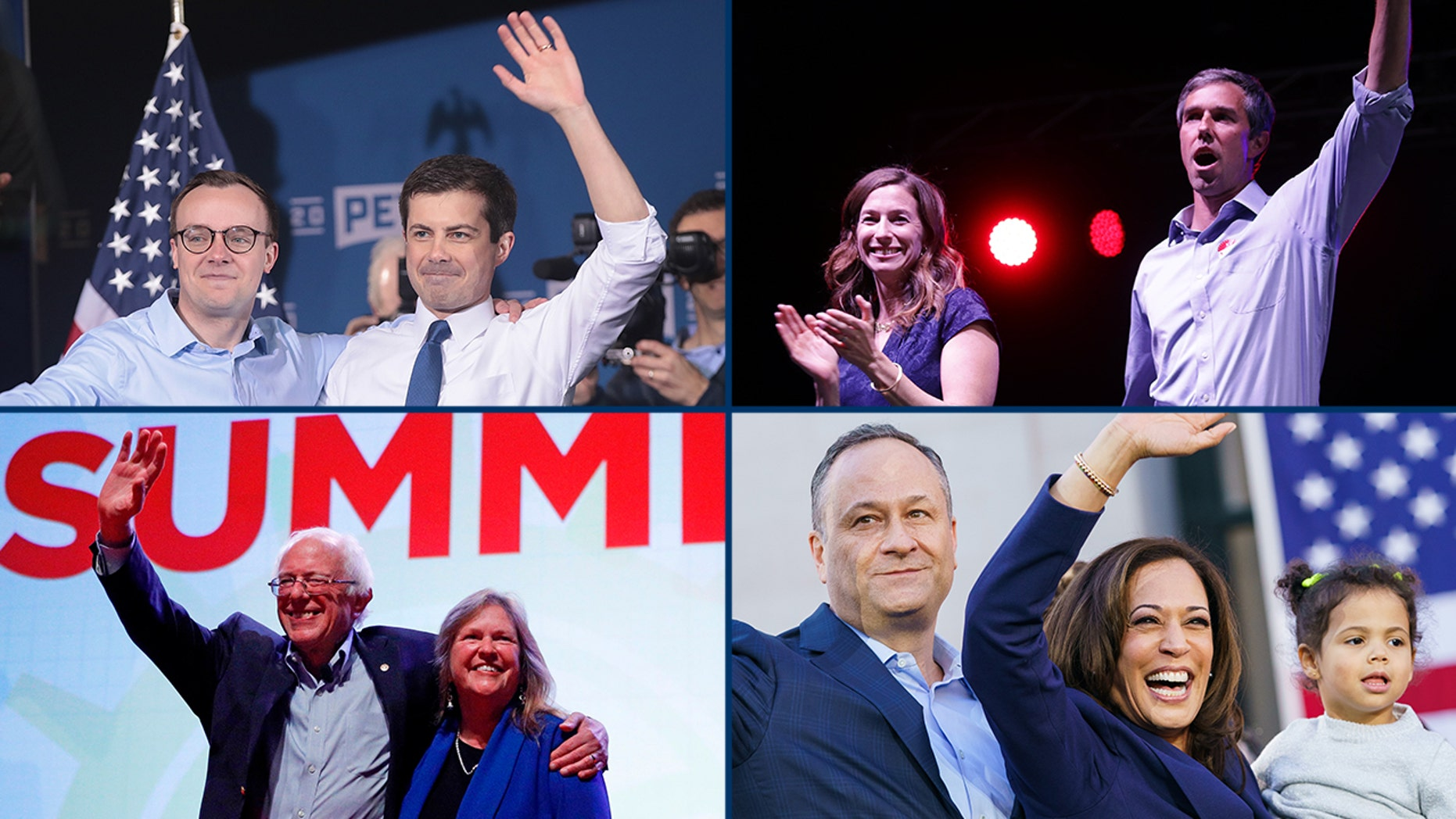 From upper left, clockwise: 2020 couples Pete and Chasten Buttigieg, Beto and Amy O'Rourke, Kamala Harris and Doug Emhoff, and Bernie and Jane O'Meara Sanders.