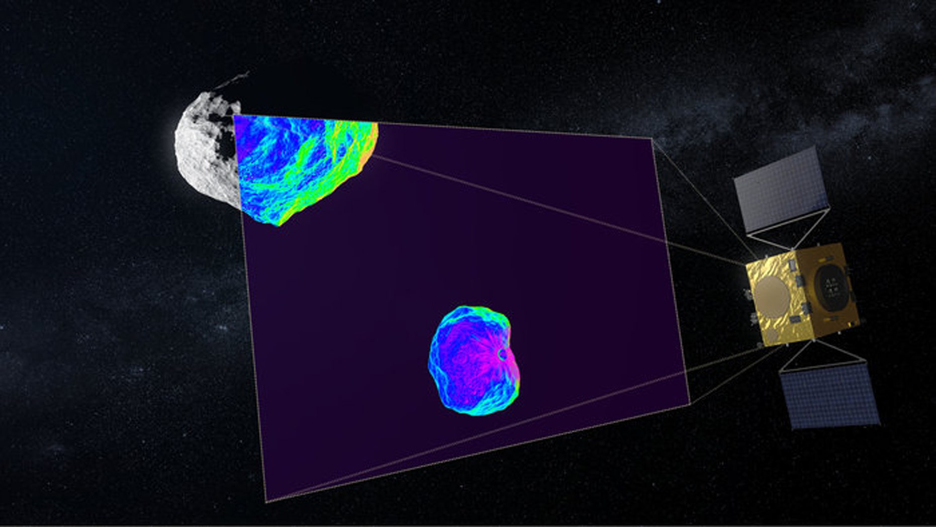 Hera uses infrared to scan the crater for impact. (Credit: ESA)