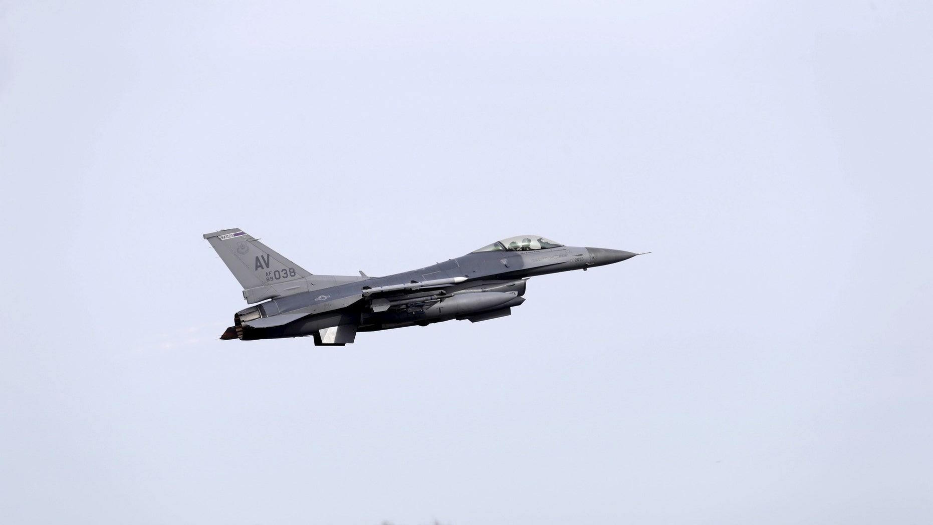 File photo - An F-16 fighter from the U.S. Air Force 510th Fighter Squadron takes-off in Amari air base March 26, 2015.