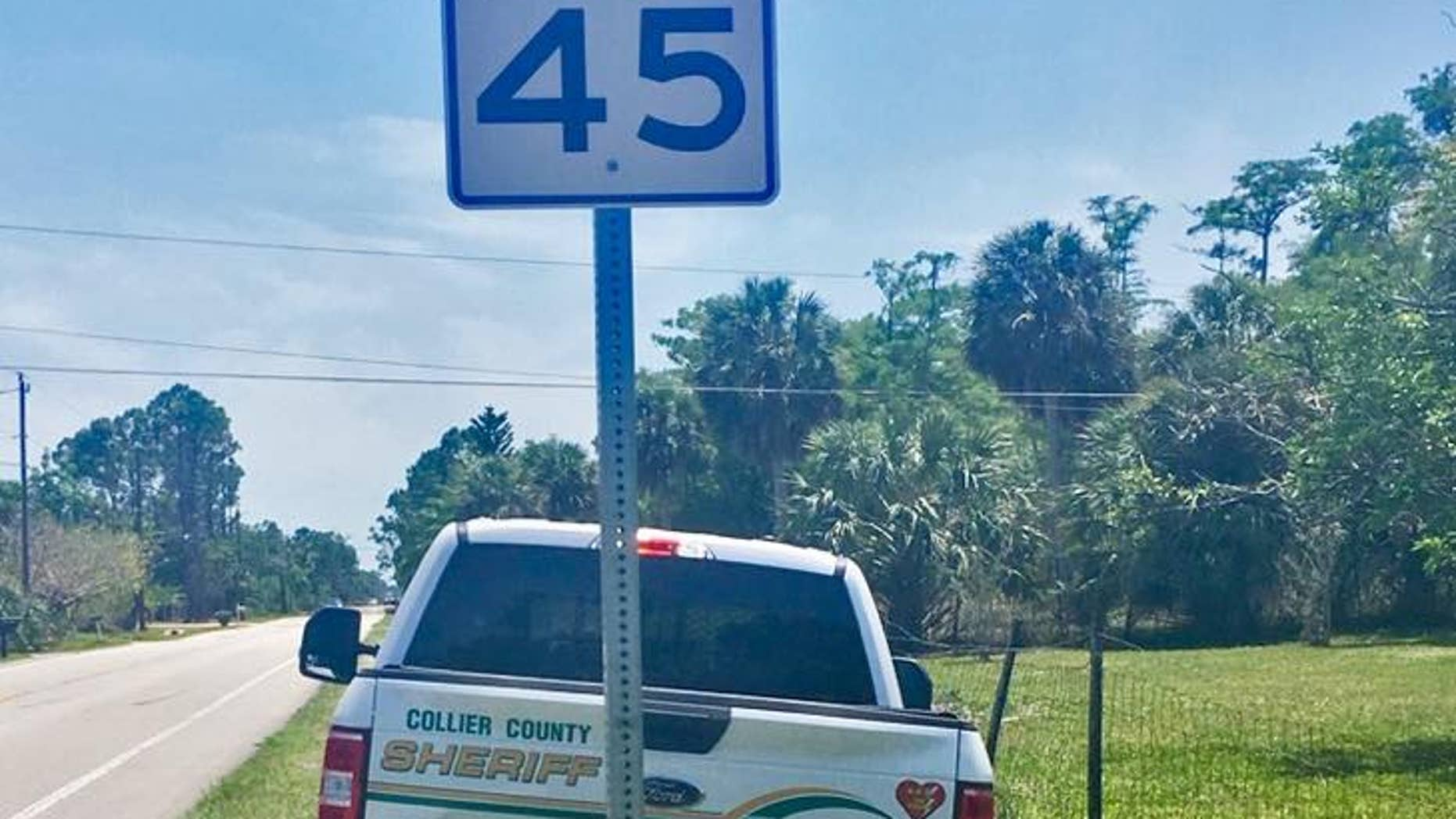 Someone made this sign to tip off drivers to a speed trap along a road in Florida last week.