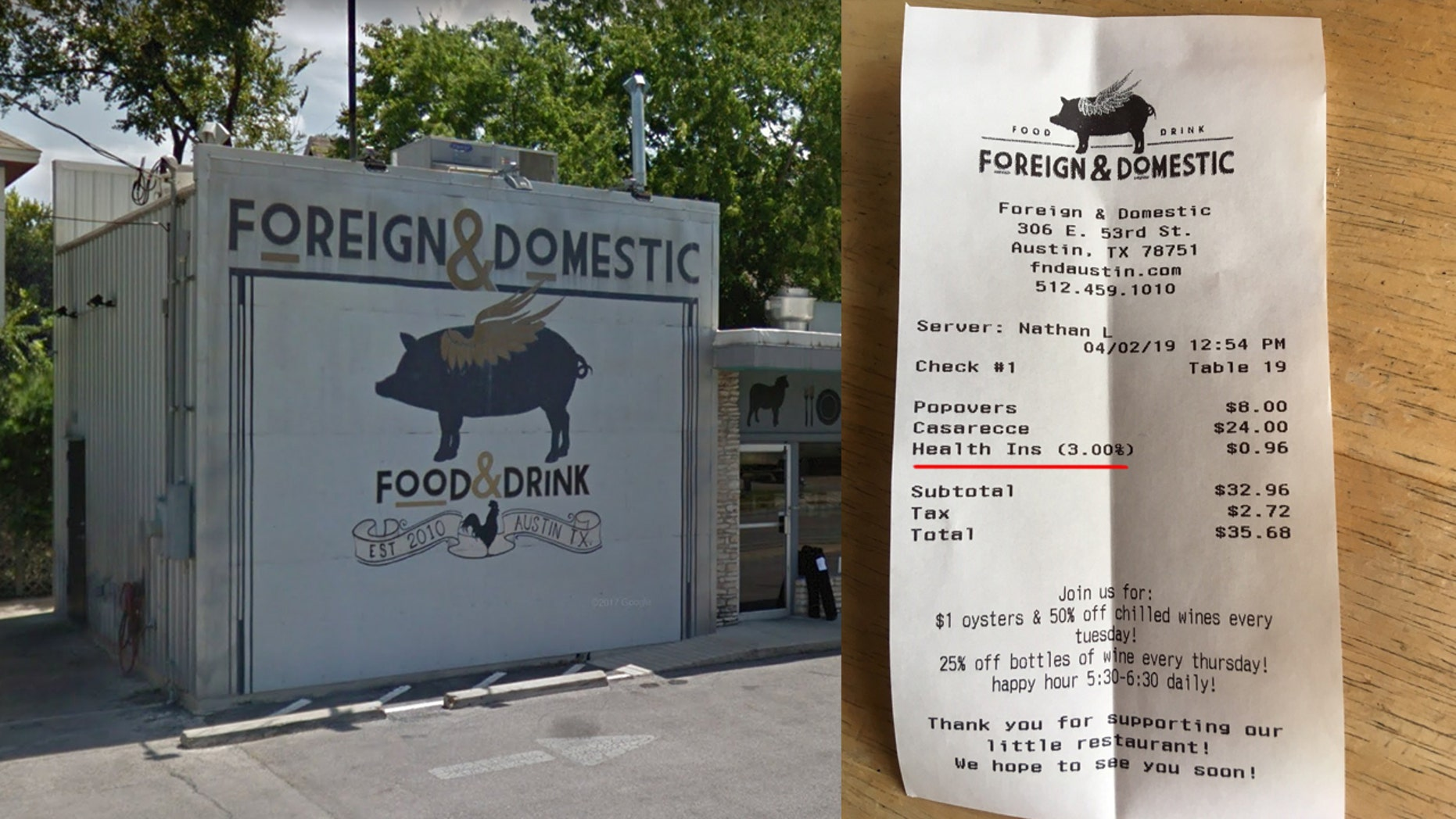 Sarah Heard, the co-owner of Foreign & Domestic in Austin, tells Fox News that only five patrons have declined to pay the health care surcharge since the restaurant instituted the optional fee on Jan. 1.