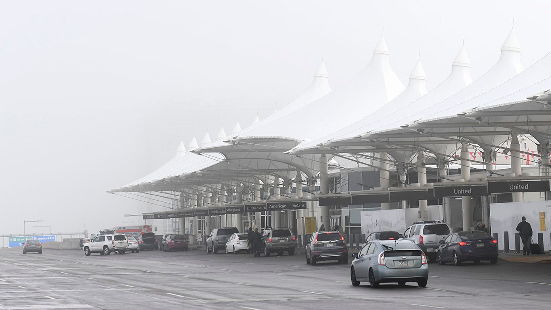 Cars line up outside Denver International Airport on Feb. 26, 2019. (Getty Images)