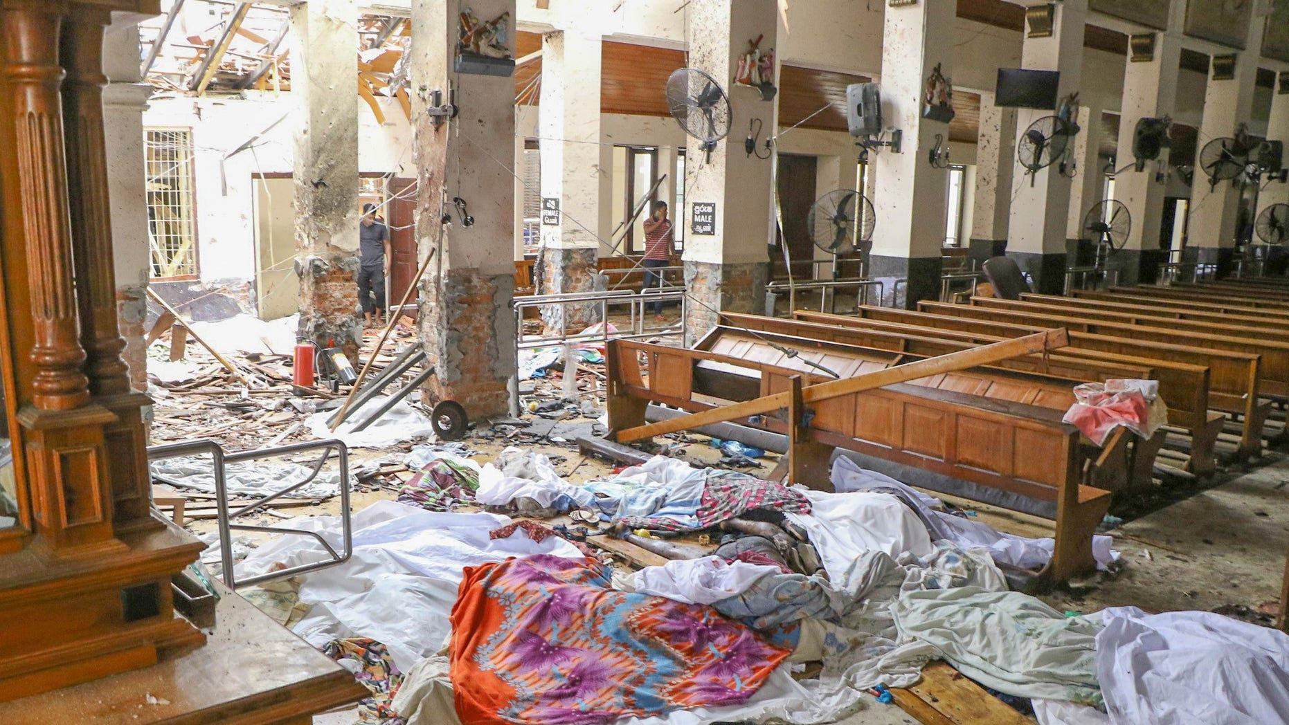 An inside view of the St. Anthony's Shrine after an explosion hit St Anthony's Church in Kochchikade in Colombo, Sri Lanka on April 21, 2019. (Photo by Chamila Karunarathne/Anadolu Agency/Getty Images)