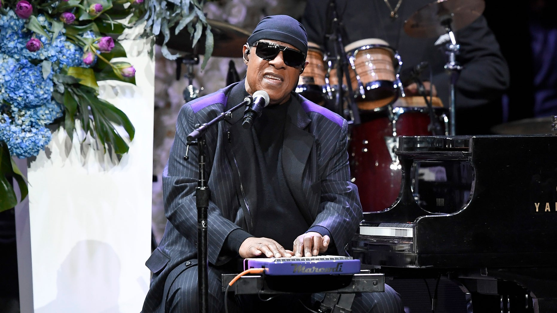 Stevie Wonder performs onstage during Nipsey Hussle's Celebration of Life at STAPLES Center on April 11, 2019 in Los Angeles, California.