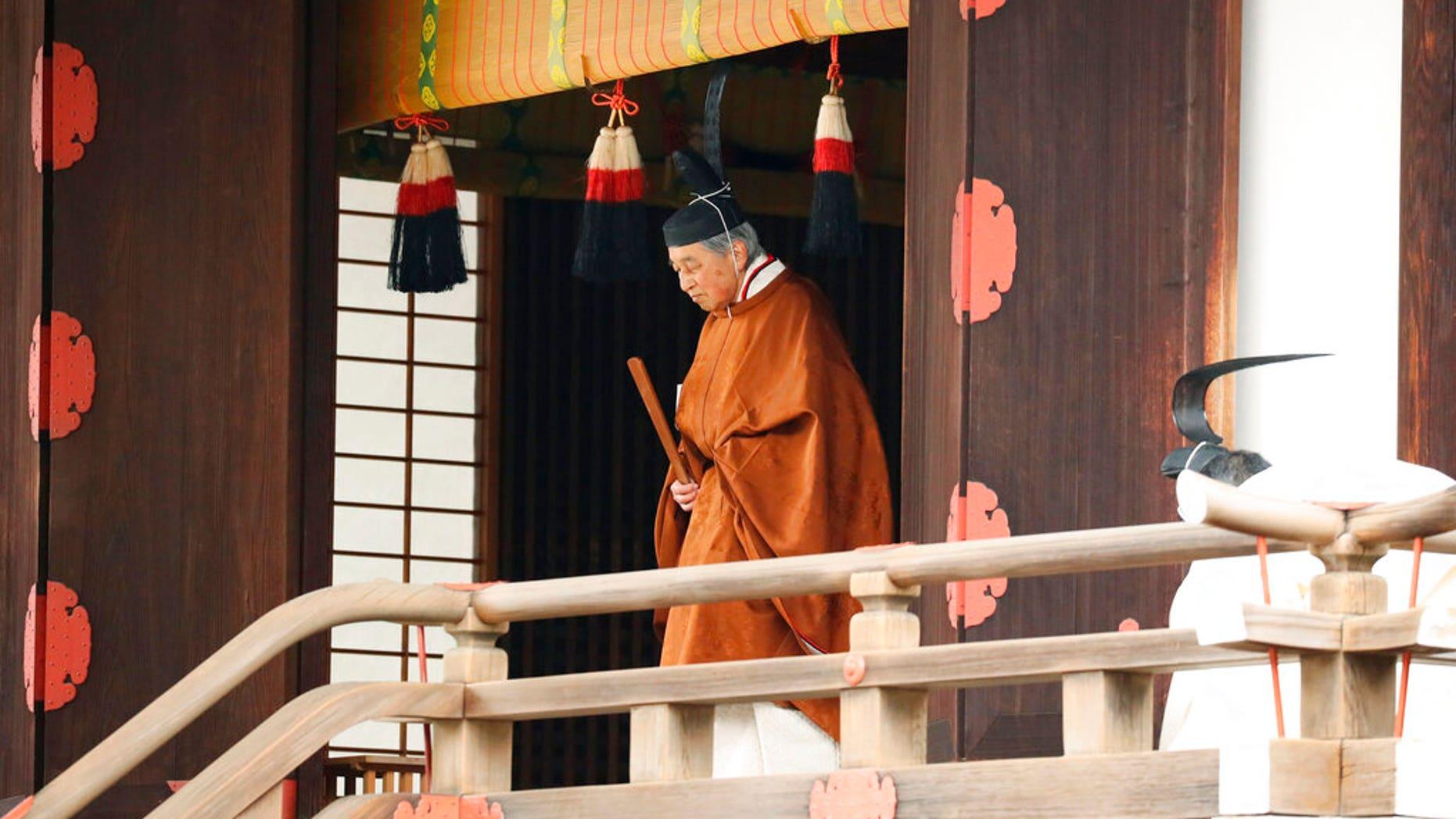 ژاپن امپراتور Akihito پس از یک مراسم به ترک خود را به تخت سلطنت، در کاخ سلطنتی در توکیو، روز سه شنبه، 30 آوریل 2019 برگزار می شود.
