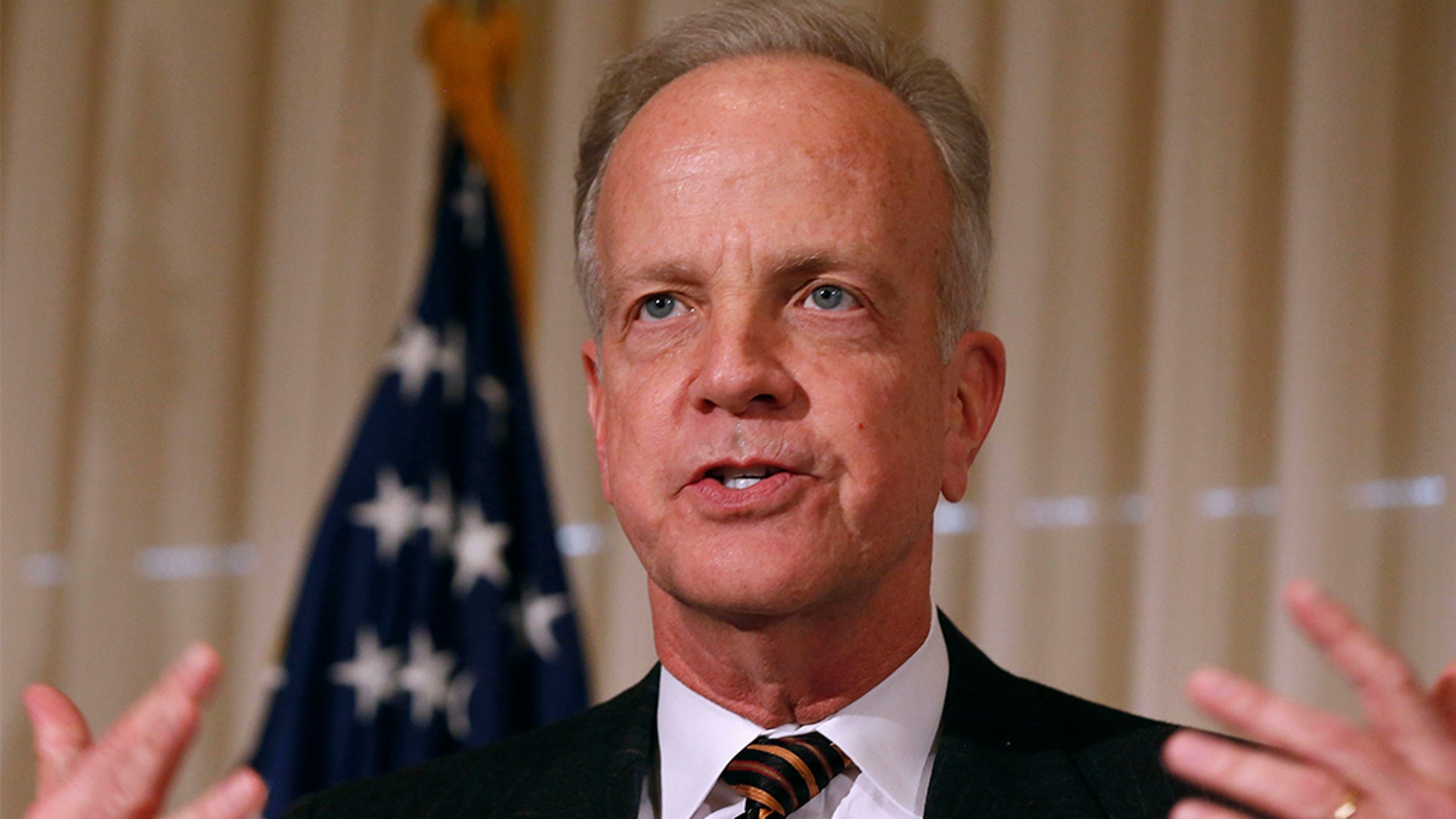 U.S. Senator Jerry Moran (R-KS) delivers remarks at the public launch of the U.S. Agriculture Coalition for Cuba while at the National Press Club in Washington, January 8, 2015. REUTERS/Larry Downing