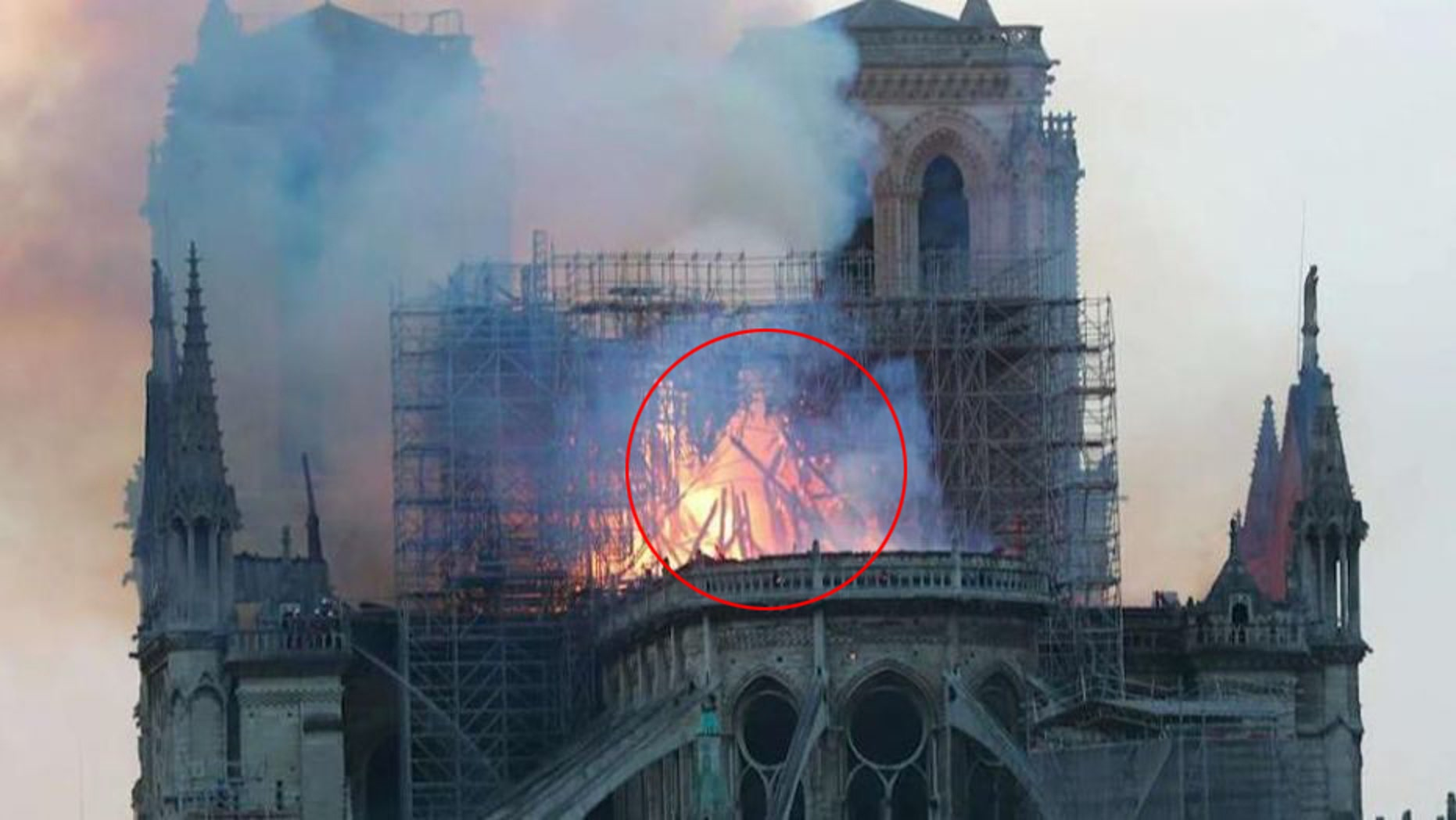 Some users on social media say they can see the outline of Jesus in the flames from the Notre Dame fire Monday evening.