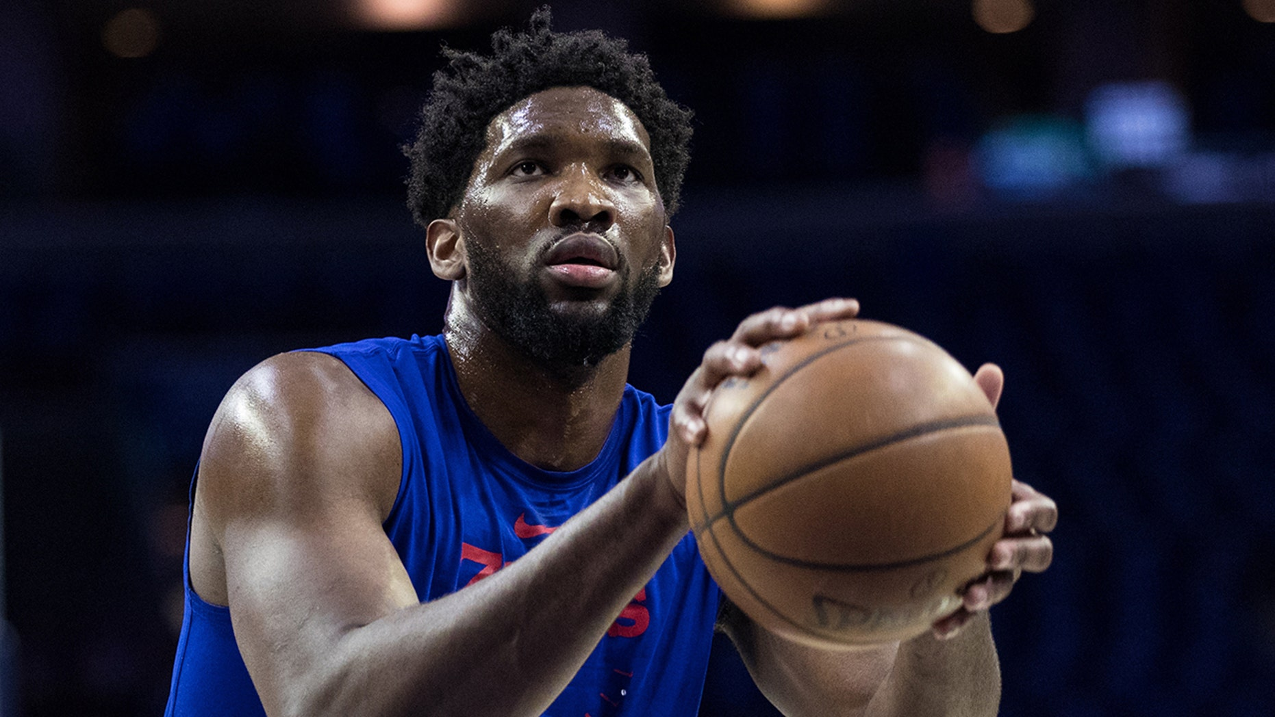 Apr 15, 2019; Philadelphia, PA, USA; Philadelphia 76ers center Joel Embiid (21) warms up before game two of the first round of the 2019 NBA Playoffs against the Brooklyn Nets at Wells Fargo Center.