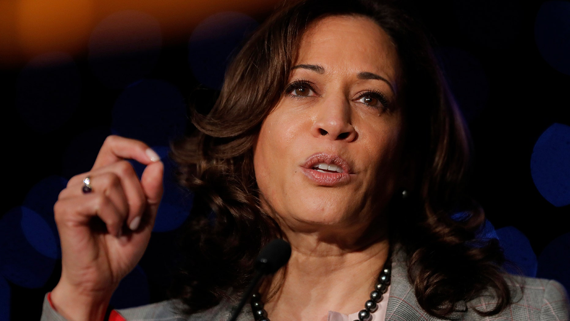 Democratic presidential Candidate Sen. Kamala Harris, D-Calif., speaks at the Alpha Kappa Alpha Sorority South Central Regional Conference in New Orleans. (AP Photo/Gerald Herbert)