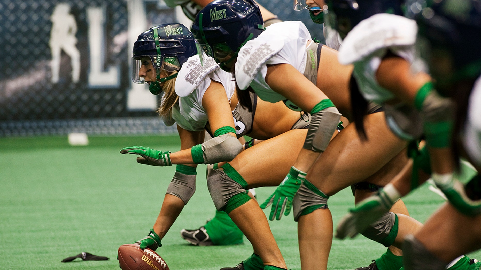 The Los Angeles Temptation vs the Seattle Mist. The LFL is a full contact professional woman's football league played in lingerie.