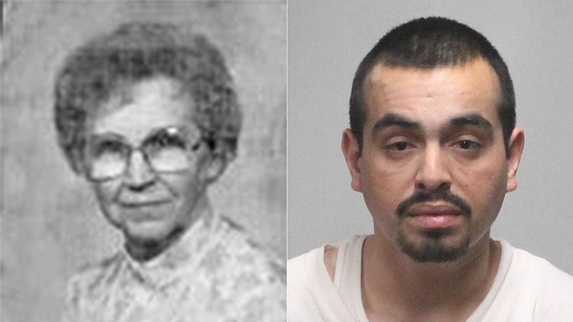 "Police in Yuba City in Northern California said Leola Shreves, 94, left, was ""brutally murdered"" in her home in 2013. On Wednesday, cops said Armandoa Cuadras, 29, right, was arrested in her death based on DNA."