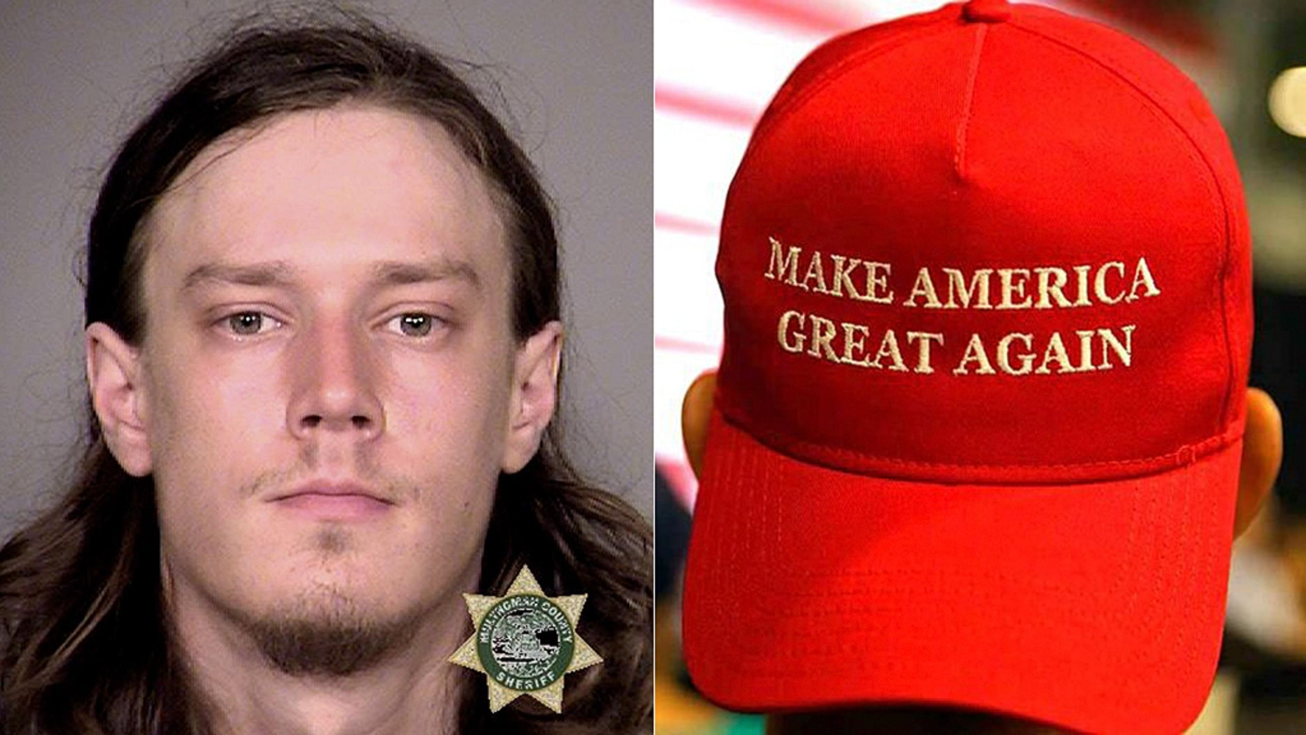 """Officers arrested Leor Bergland, 30, of San Francisco, Wednesday after he allegedly slashed a man with a sword after the victim allegedly knocked his """"Make America Great Again"""" hat from his head, police said."""
