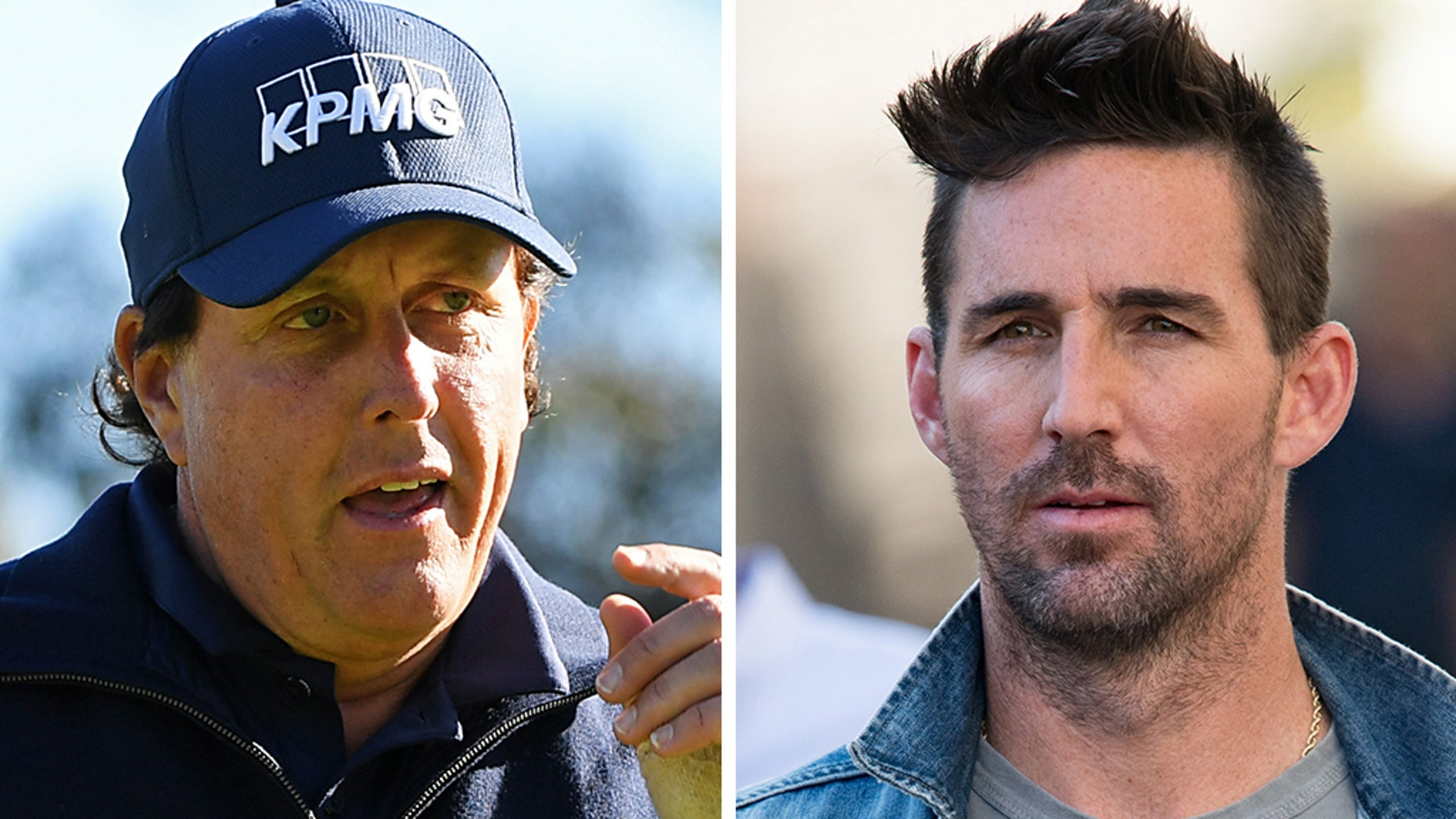 Phil Mickelson, left, and Jake Owen saw each other at ghostwriter Jordan Spate's wedding in November, the day after Michelson played at the Tiger Woods Golf Tournament.