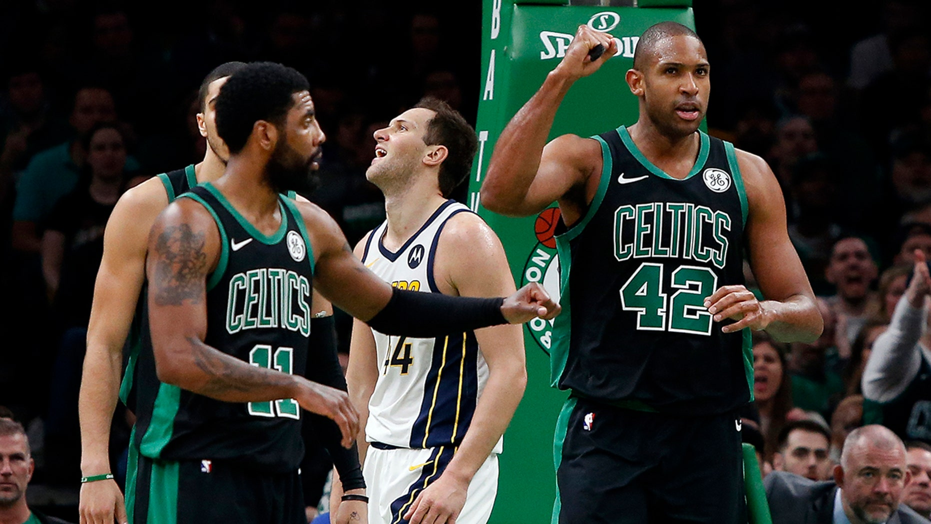 Boston Celtics' Al Horford (42) pumps his fist after being fouled while creation a basket by Indiana Pacers' Bojan Bogdanovic, rear, during a second entertain in Game 1 of a first-round NBA basketball playoff series, Sunday, Apr 14, 2019, in Boston. (AP Photo/Winslow Townson)