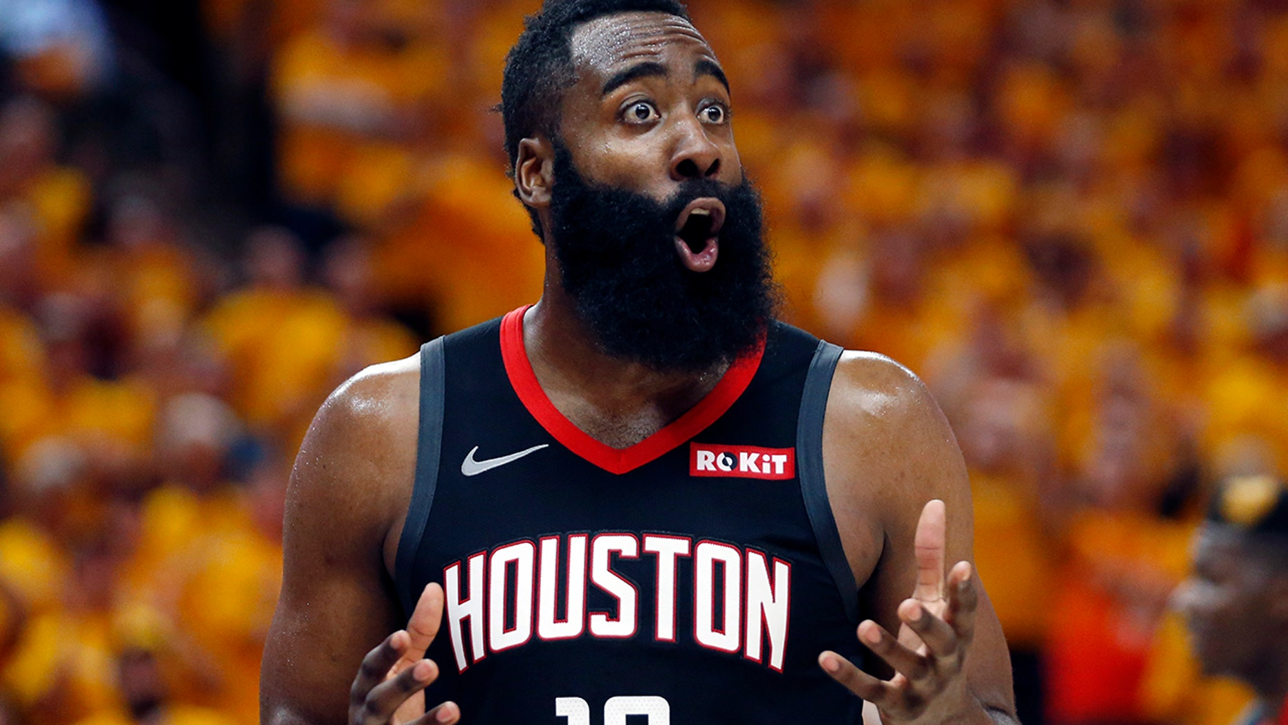 20f9448cb3e Houston Rockets guard James Harden (13) reacts after a foul in the second  half