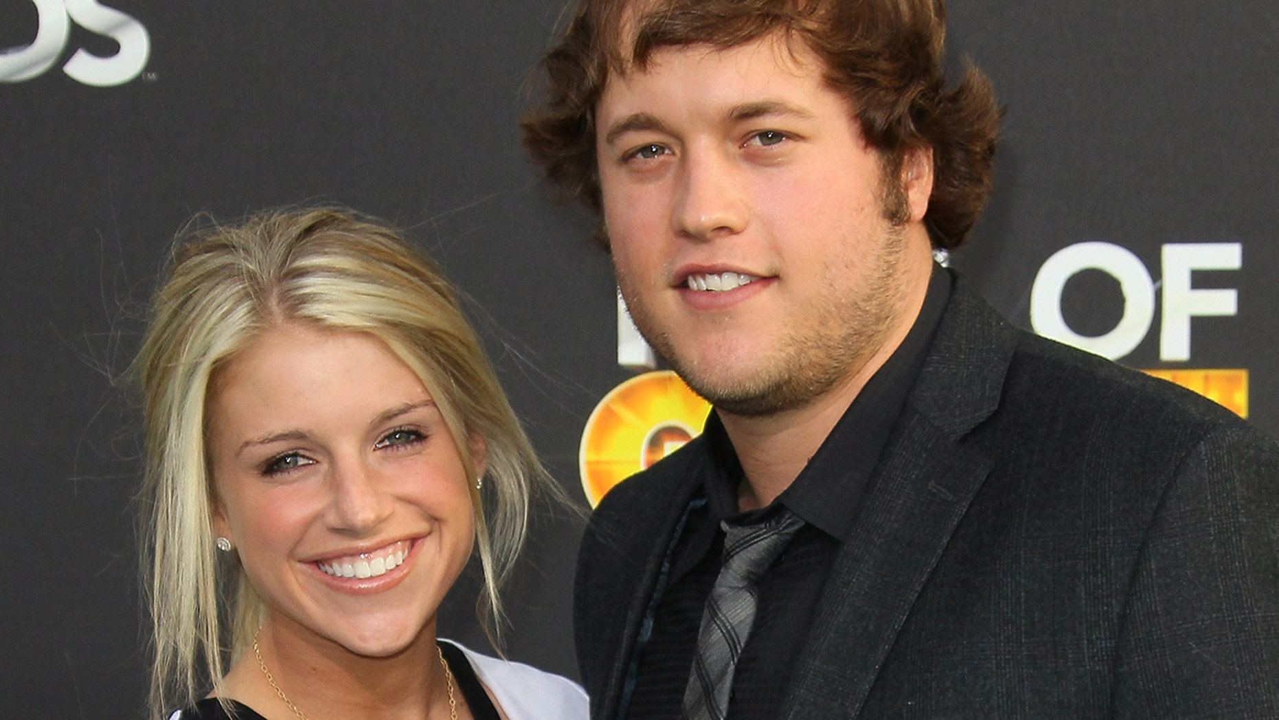 NFL player Matthew Stafford, right, and Kelly Hall attend the 2nd Annual Cartoon Network Hall of Game Awards at Barker Hangar on February 18, 2012 in Santa Monica, California.
