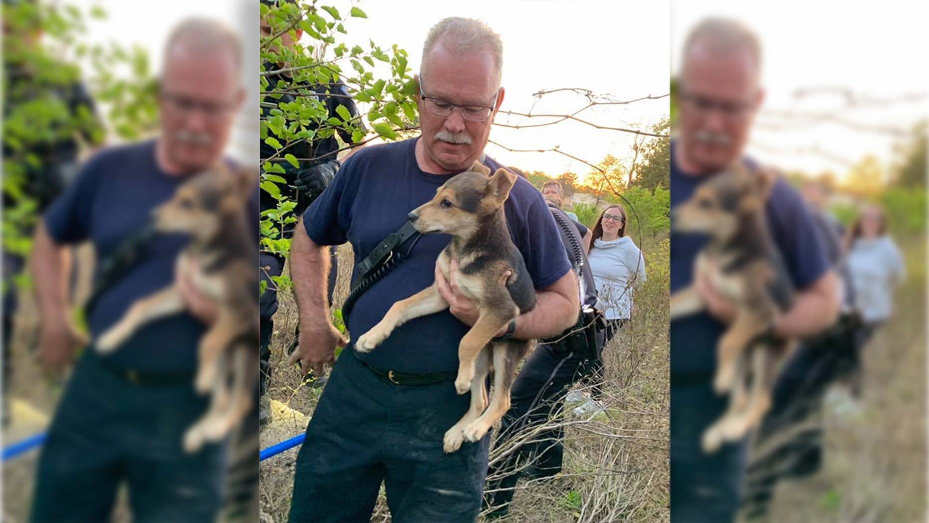 Capt. Paul Bryant adopted the puppy he'd rescued the week before.