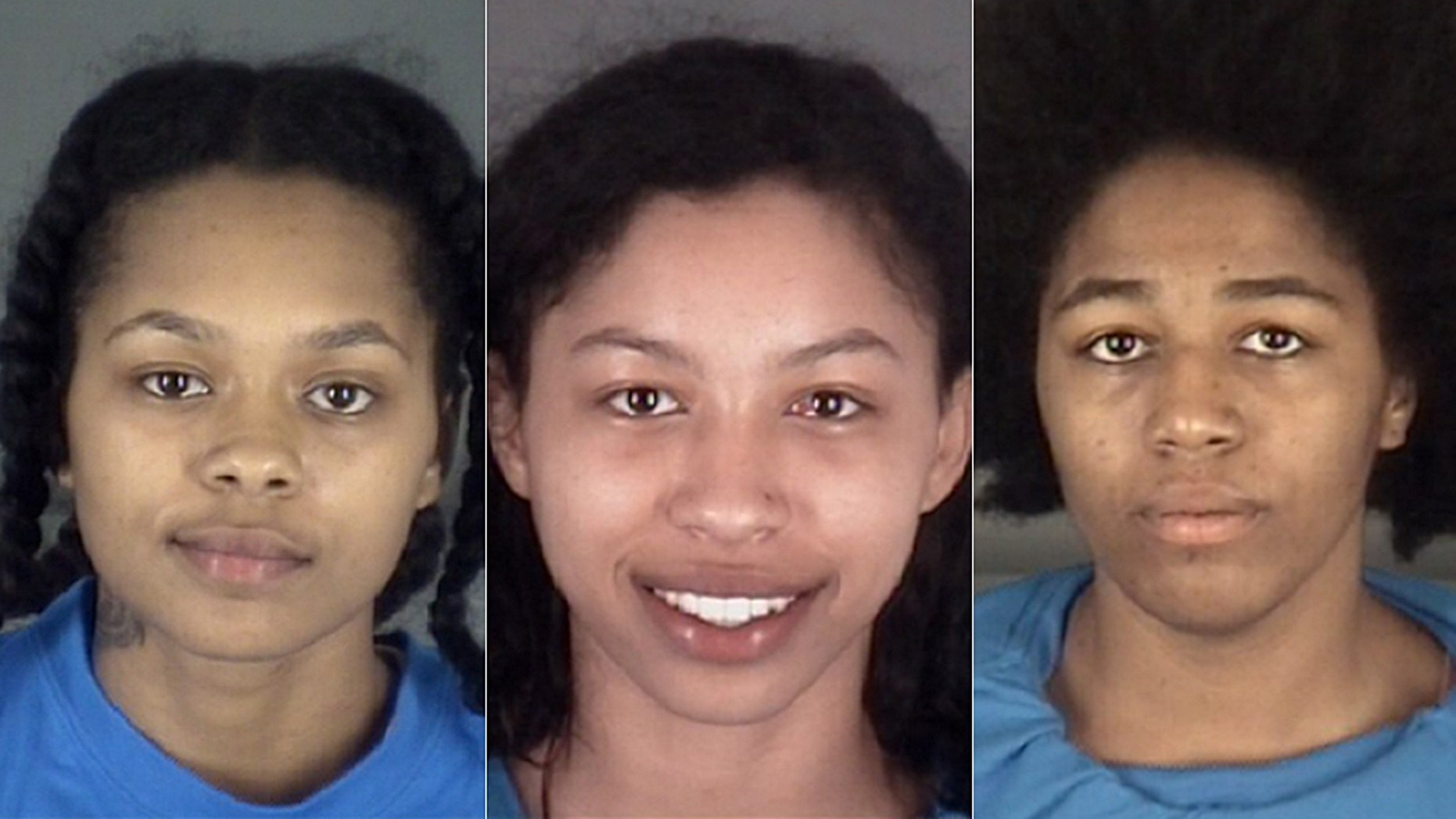 Oasis Mcleod, left, Jeniyah Mcleod, center, and Cecilia Young were arrested Wednesday after leading police on a wild chase in Florida.