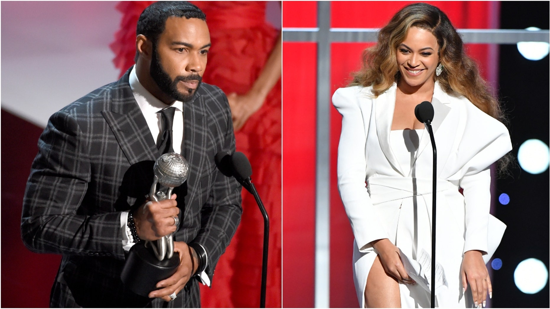 Omari Hardwick and Beyoncé attend 50th NAACP Image Awards. (Photo: Chris Pizzello/Invision/AP and Earl Gibson III/Getty Images for NAACP)