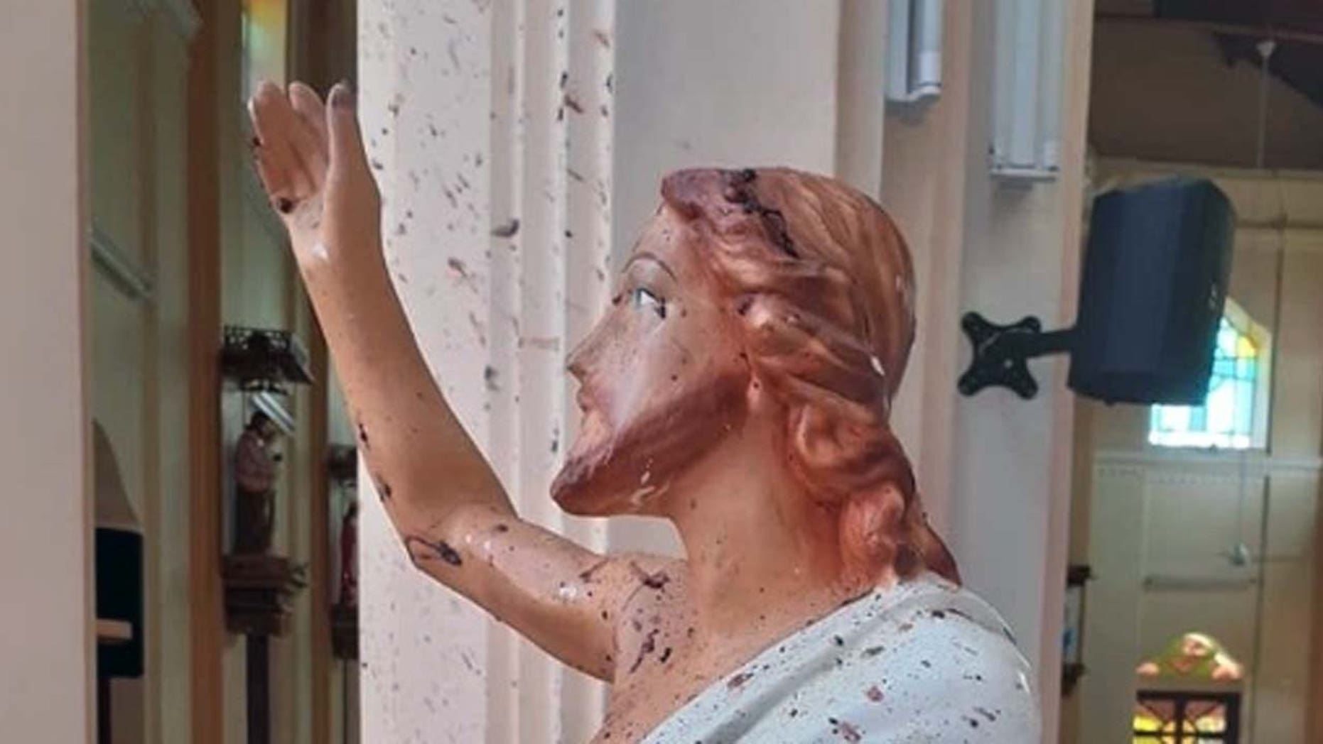 A blood-spattered statue of Jesus from the St. Sebastian church in Sri Lanka, after Islamic militants bombed the church in an Easter Sunday massacre.