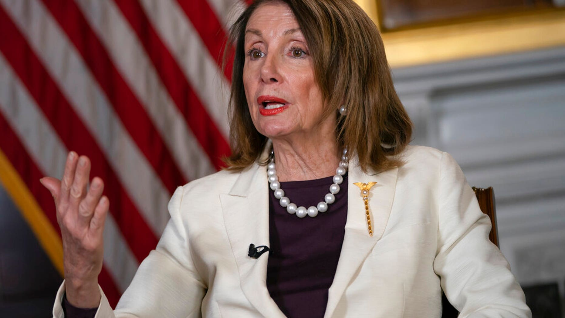 Speaker of the House Nancy Pelosi, D-Calif., Speaks during an interview with the Associated Press in Washington, DC, on Wednesday, April 10, 2019. (AP Photo / J. Scott Applewhite) [1[ads1]9659002 Speaker of the House Nancy Pelosi, D-Calif., Speaks during an interview with The Associated Press in Washington, DC, Wednesday, April 10, 2019. (AP Photo / J. Scott Applewhite) <!----></p> </div> </div> </div> <p class=