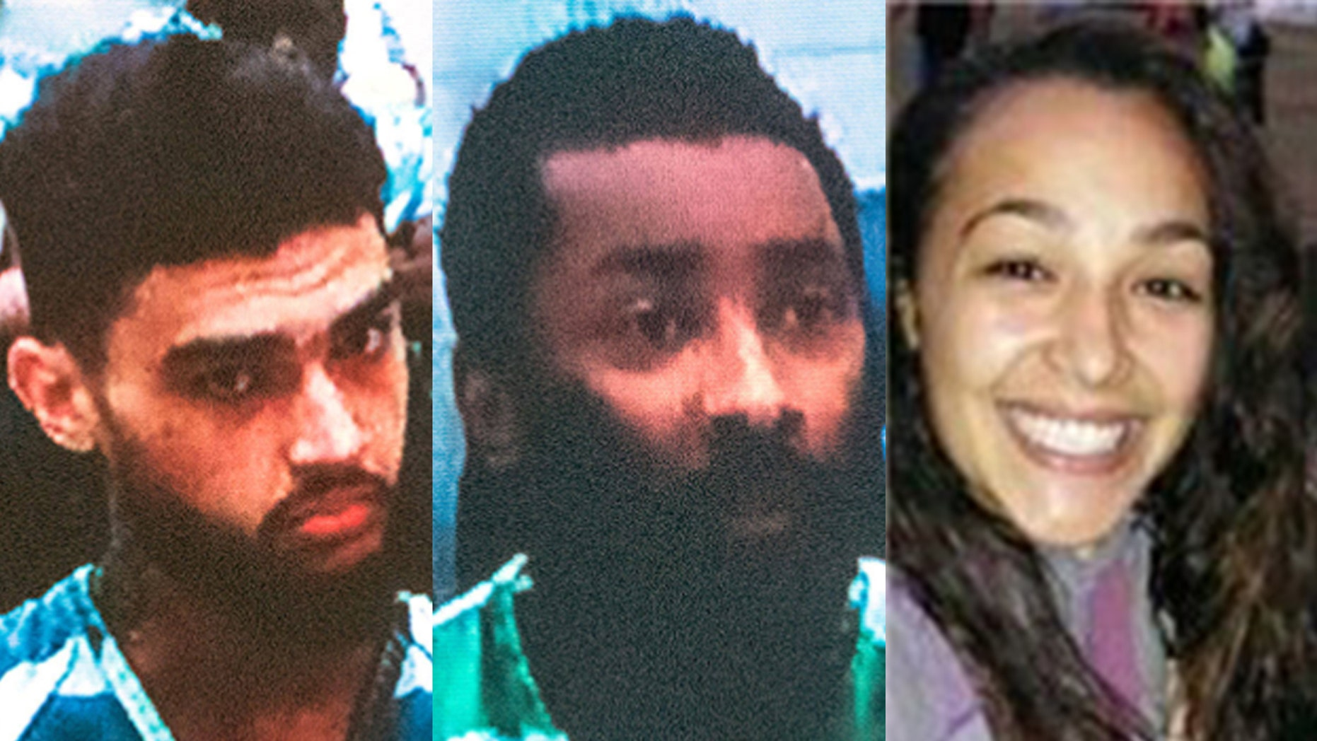 Jerradon Phelps, left, and Kevin Lewis, center, face murder charges in a murder-for-hire plot in which Alisha Canales-McGuire, 24, was fatally shot in Everett, Wash., in 2017.