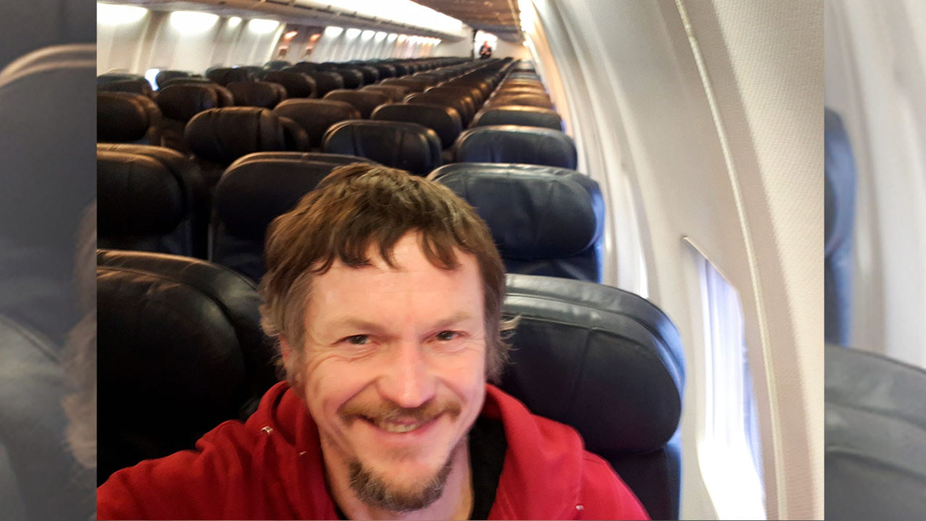 Skirmantas Strimaitis, pictured here takinga selfie, took off from Lithuania on March 16 as the only passenger aboarda Boeing 737-800 airplane.