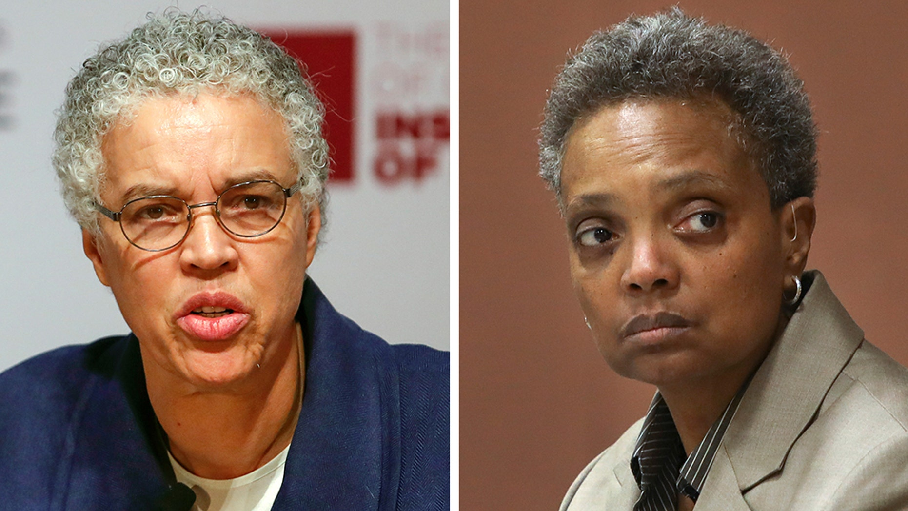 Lori Lightfoot, right, was projected to defeat Toni Preckwinkle in the race for Chicago mayor.