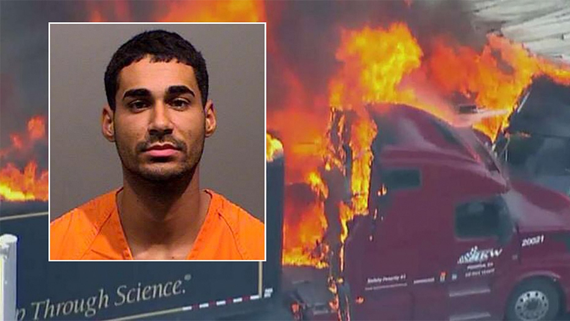 Rogel Lazaro Aguilera-Mederos, 23, appeared in court on Saturday after being arrested on suspicion of vehicular homicide following a 28-car pileup in Colorado that killed four people and injured at least six more