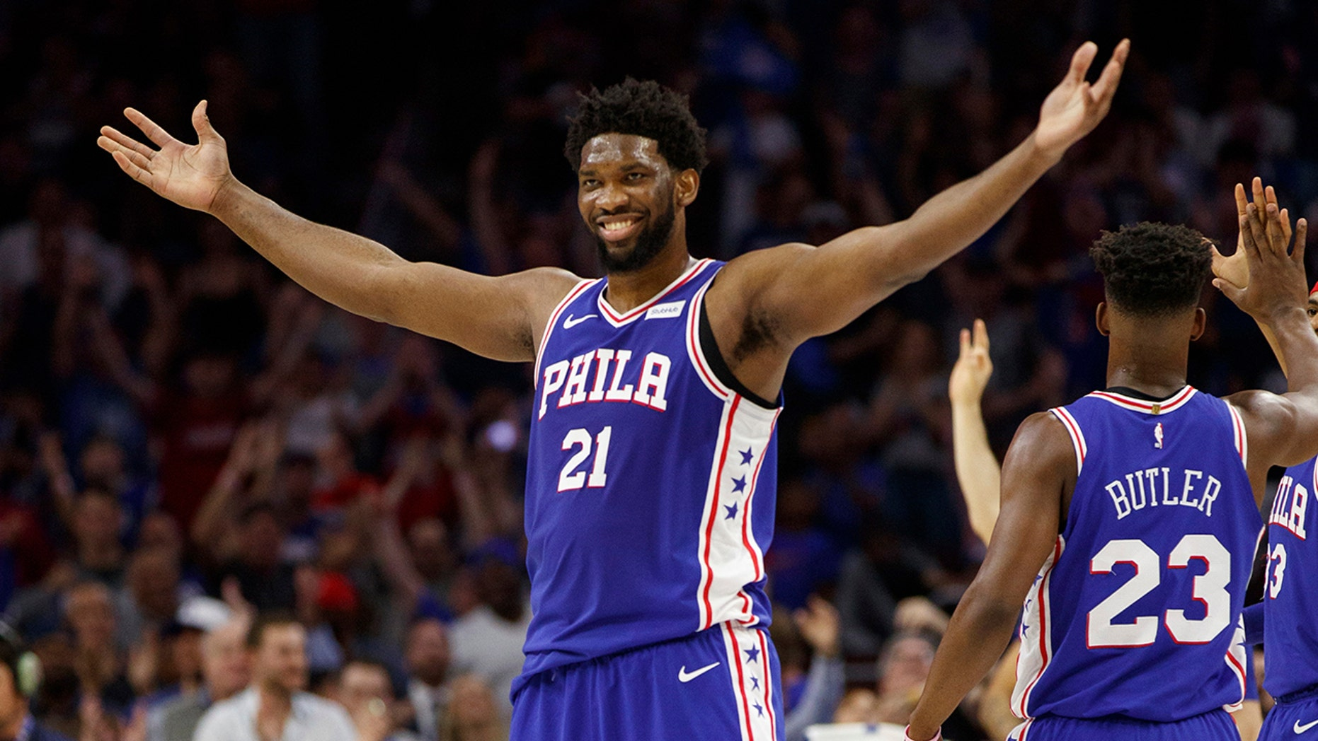Philadelphia 76ers' Joel Embiid, of Cameroon, reacts to his basket during the first half in Game 5 of a first-round NBA basketball playoff series against the Brooklyn Nets, Tuesday, April 23, 2019, in Philadelphia. (Associated Press)