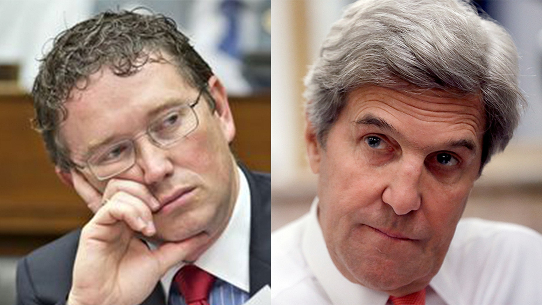 Former Secretary of State John Kerry clashed with Rep. Thomas Massie, R-Ky., on Tuesday.