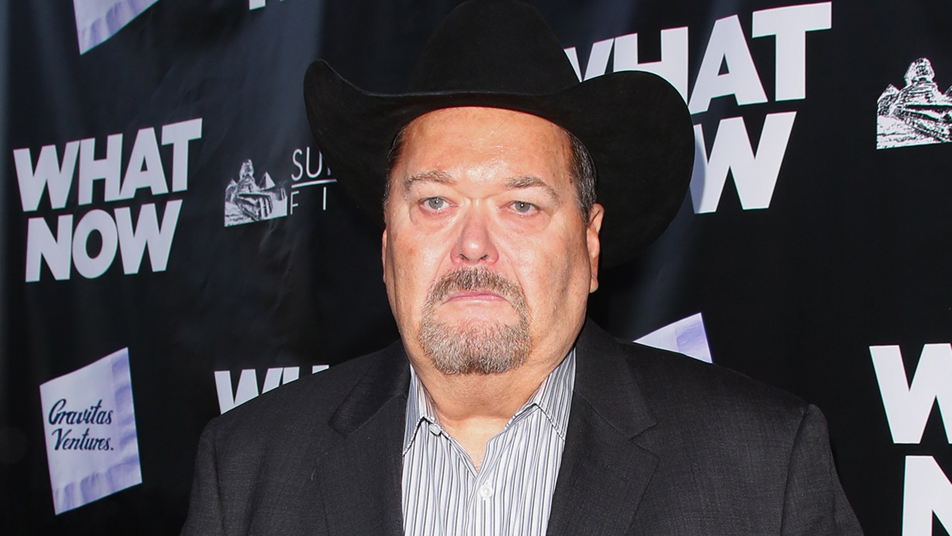 """Wrestling Commentator Jim Ross attends the premiere of """"What Now"""" at The Laemmle Music Hall on March 10, 2015 in Beverly Hills, California."""