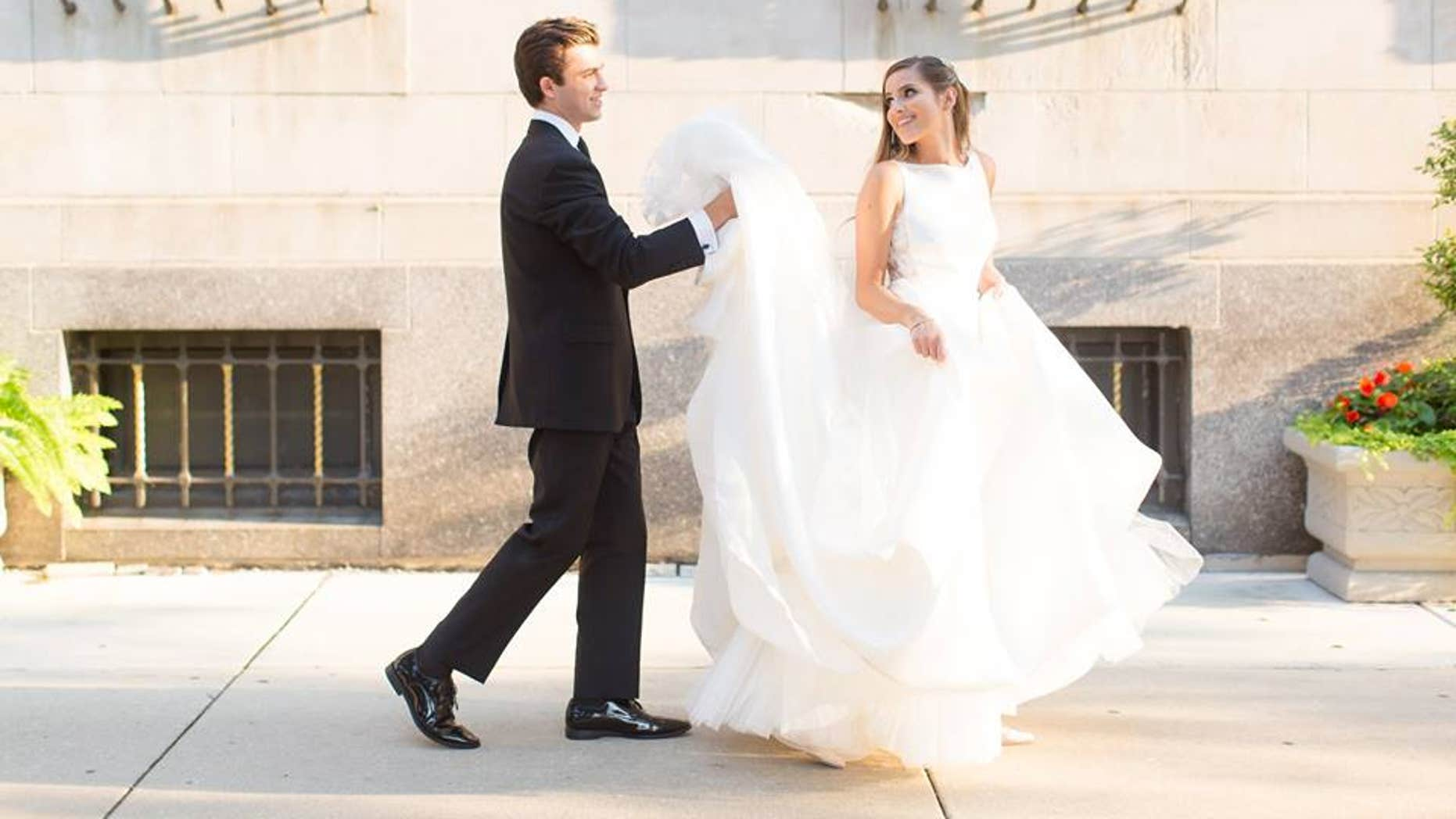 Christen and her husband Sam on their wedding day.