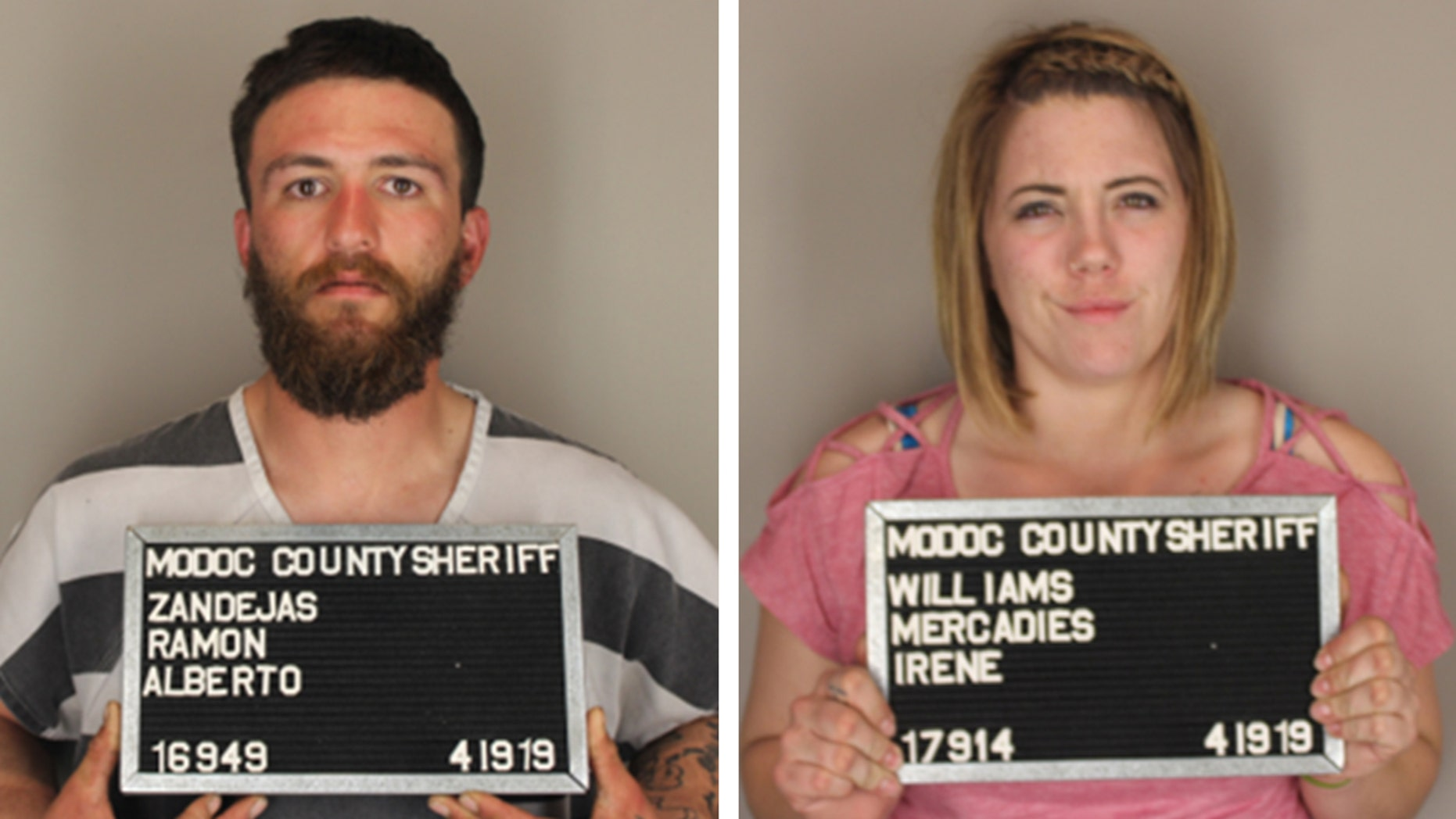 Deputies arrested 25-year-old Ramon Zendejas and his girlfriend, 25-year-old Mercadies Williams on Friday on illegal firearms possession and child endangerment charges. (Modoc County Sheriff's Office)