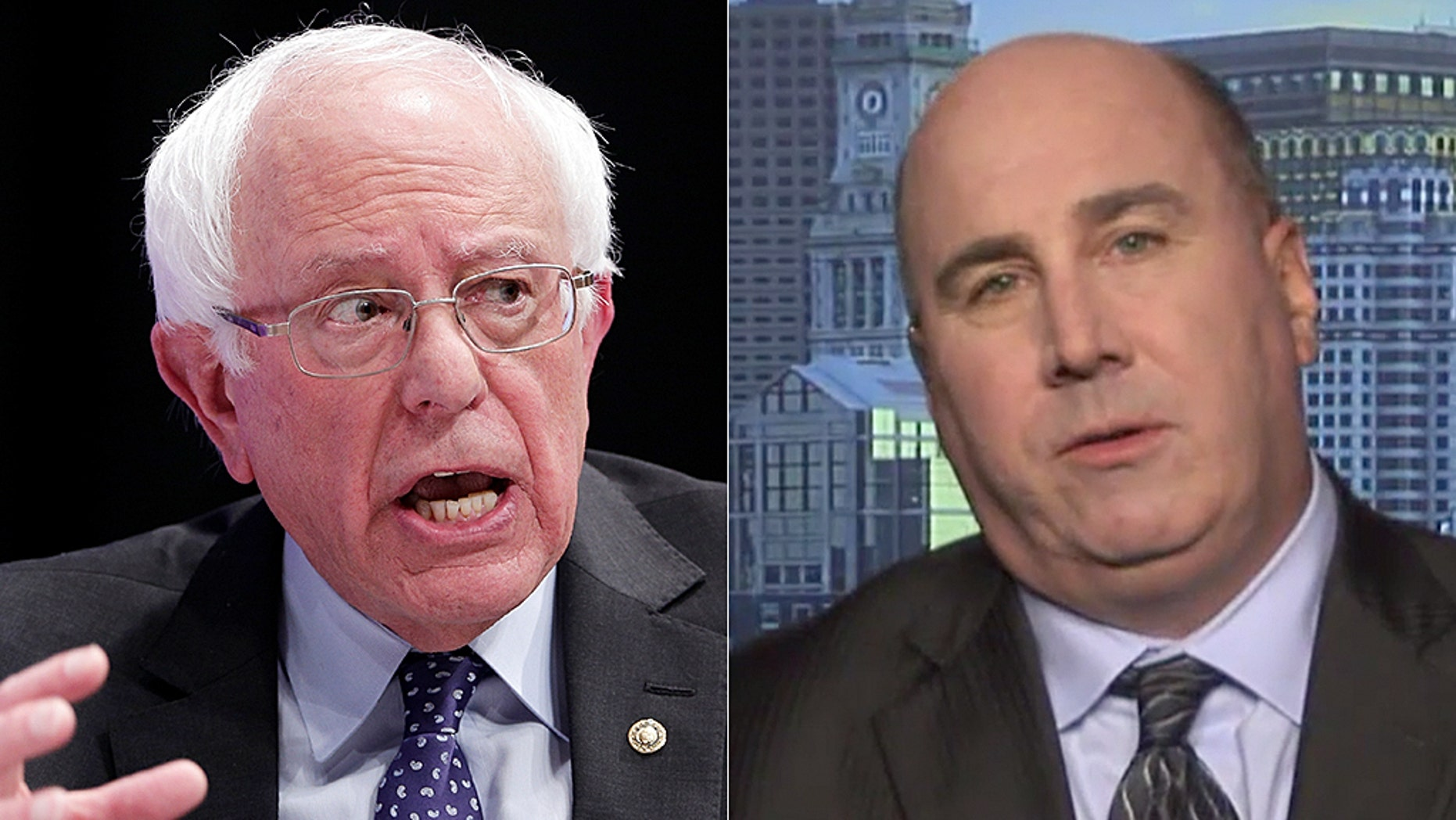 Daniel Linskey (right), former superintendent-in-chief of the Boston Police Department, explained his reaction to Bernie Sanders' comments about giving felons the right to vote.