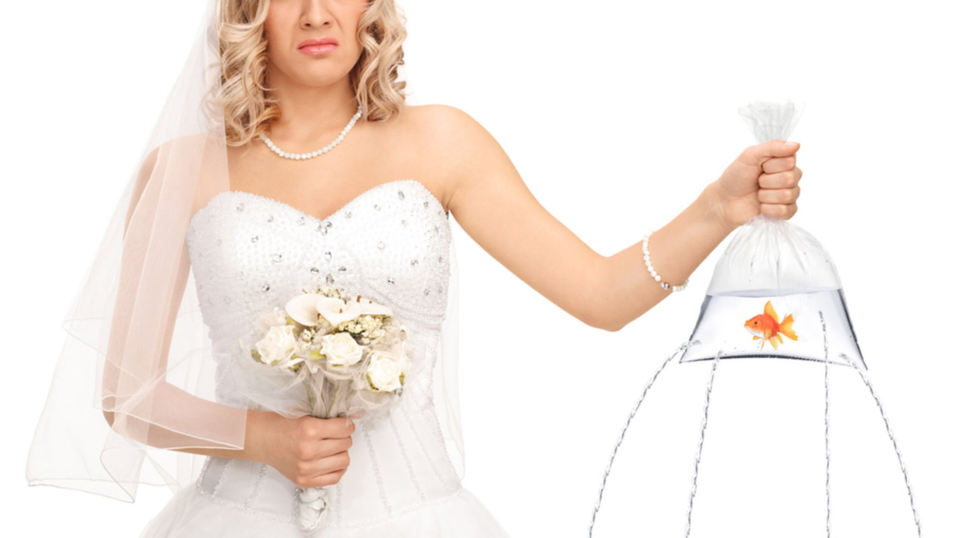 Sad bride holding a goldfish in a cosmetic bag with holes in it and a H2O leaking removed on white background