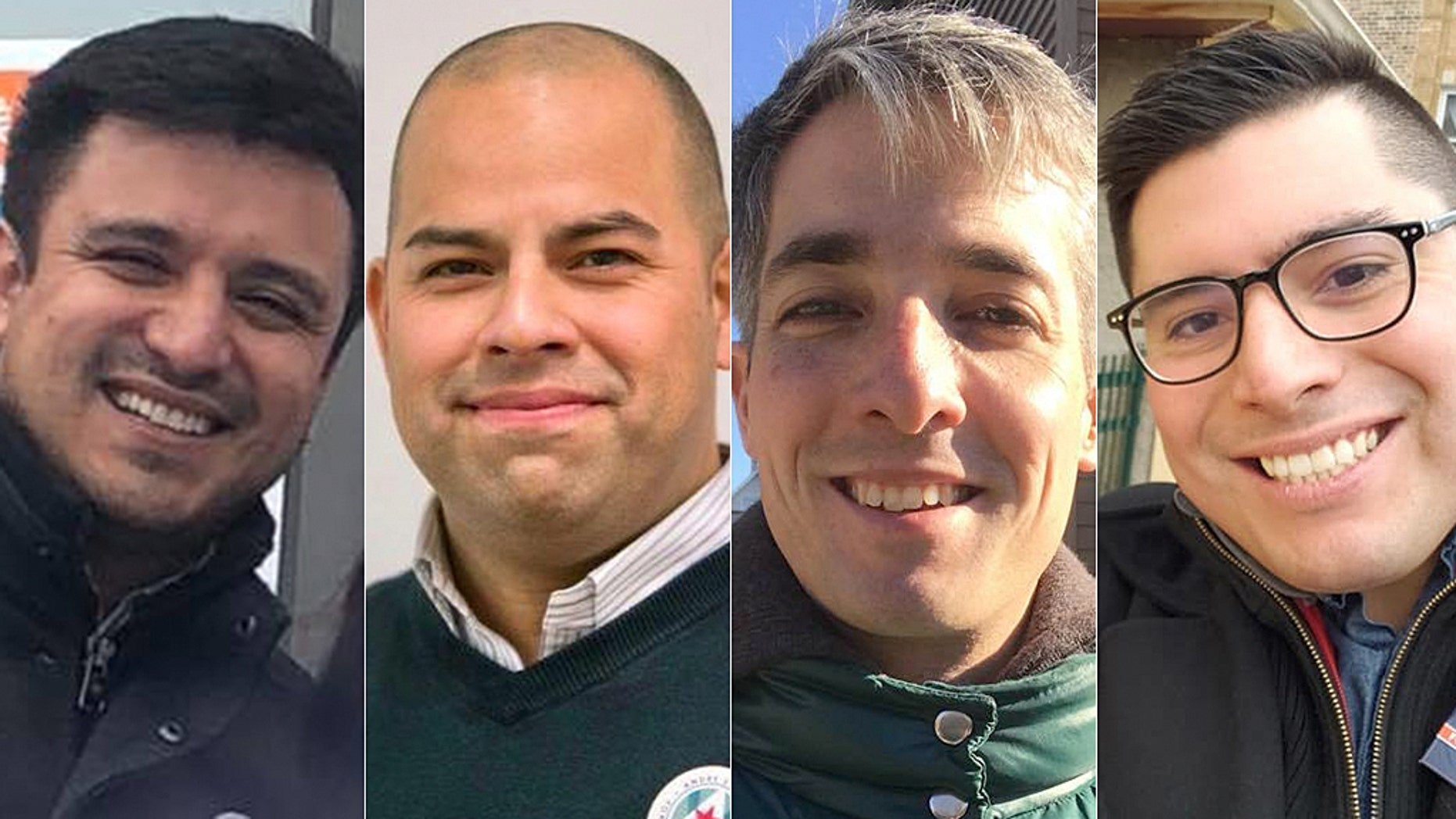 Democratic socialists Byron Sigcho-Lopez, Andre Vasquez, Daniel La Spata and Carlos Ramirez-Rosa (L-R) have all won seats on Chicago's City Council.