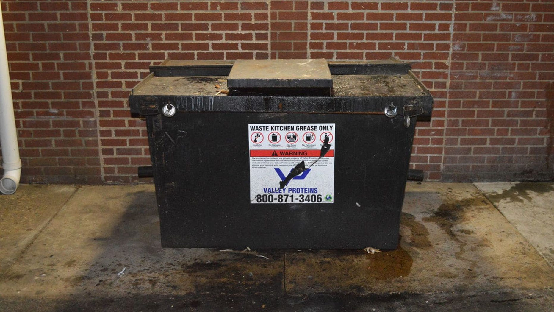 Grease was stolen from this Fairfax County dumpster on March 26.