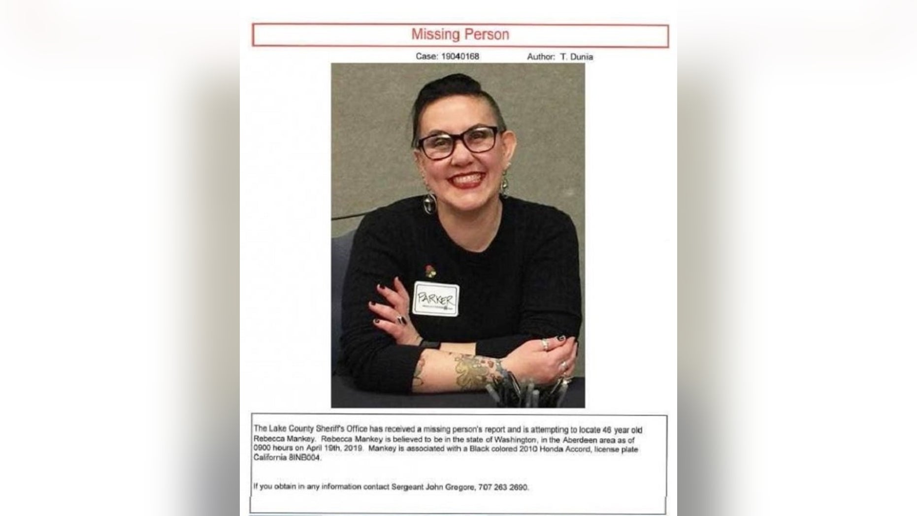 Rebecca Parker Mankey was reported missing after leaving Lake County, where she visited a friend on April 18.