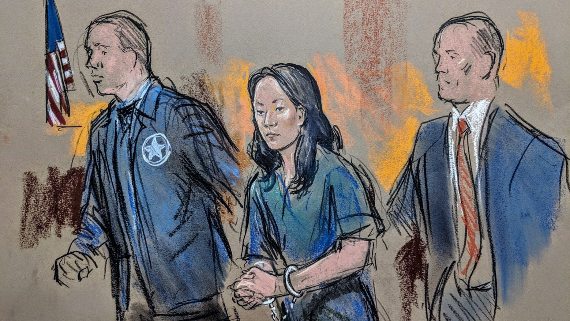 ​Yujing Zhang being led into federal court in West Palm Beach, Fla., on Monday. (William Hennessy Jr. / CourtroomArt.com)