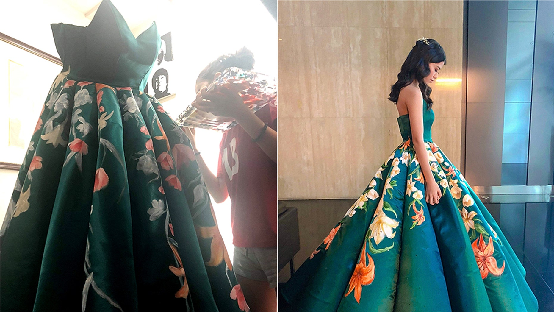 """One creative teenager in the Philippines has gone viral for making a dress fit for a princess ahead of her high school graduation, after a professional did a """"horrible"""" job of bringing her vision to life."""
