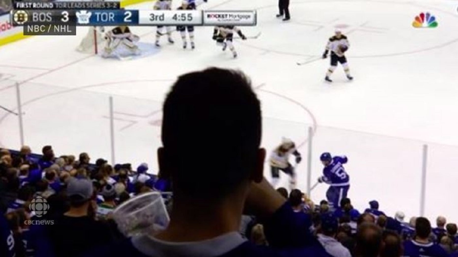 Many American television viewers were upset with a fan who partially blocked a camera's view during an April 21 game between the Boston Bruin and Toronto Maple Leafs.