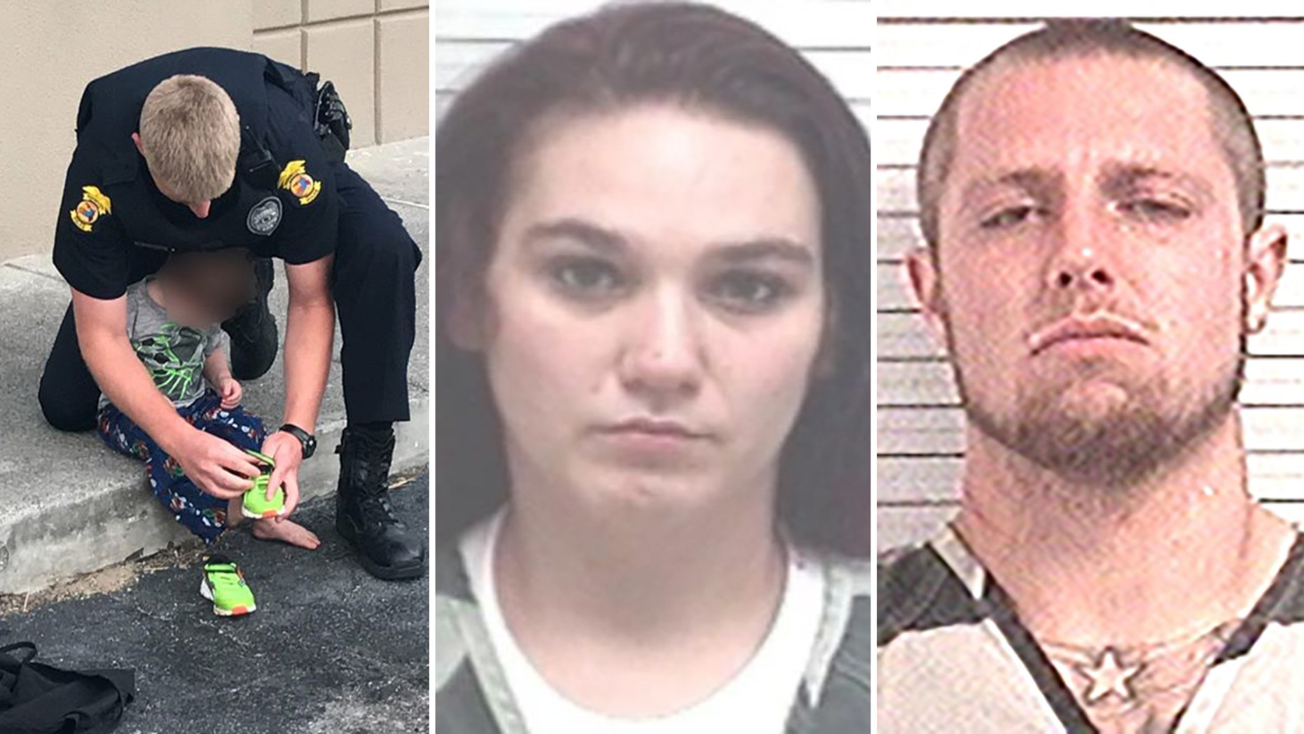 The toddler and his 9-month-old twin siblings were put in the care of the Department of Children and Families. Their mother, 24-year-old Jordyn Freeman, center, and her fiance,27-year-old Randy McMillin, right, are originally from Ohio.
